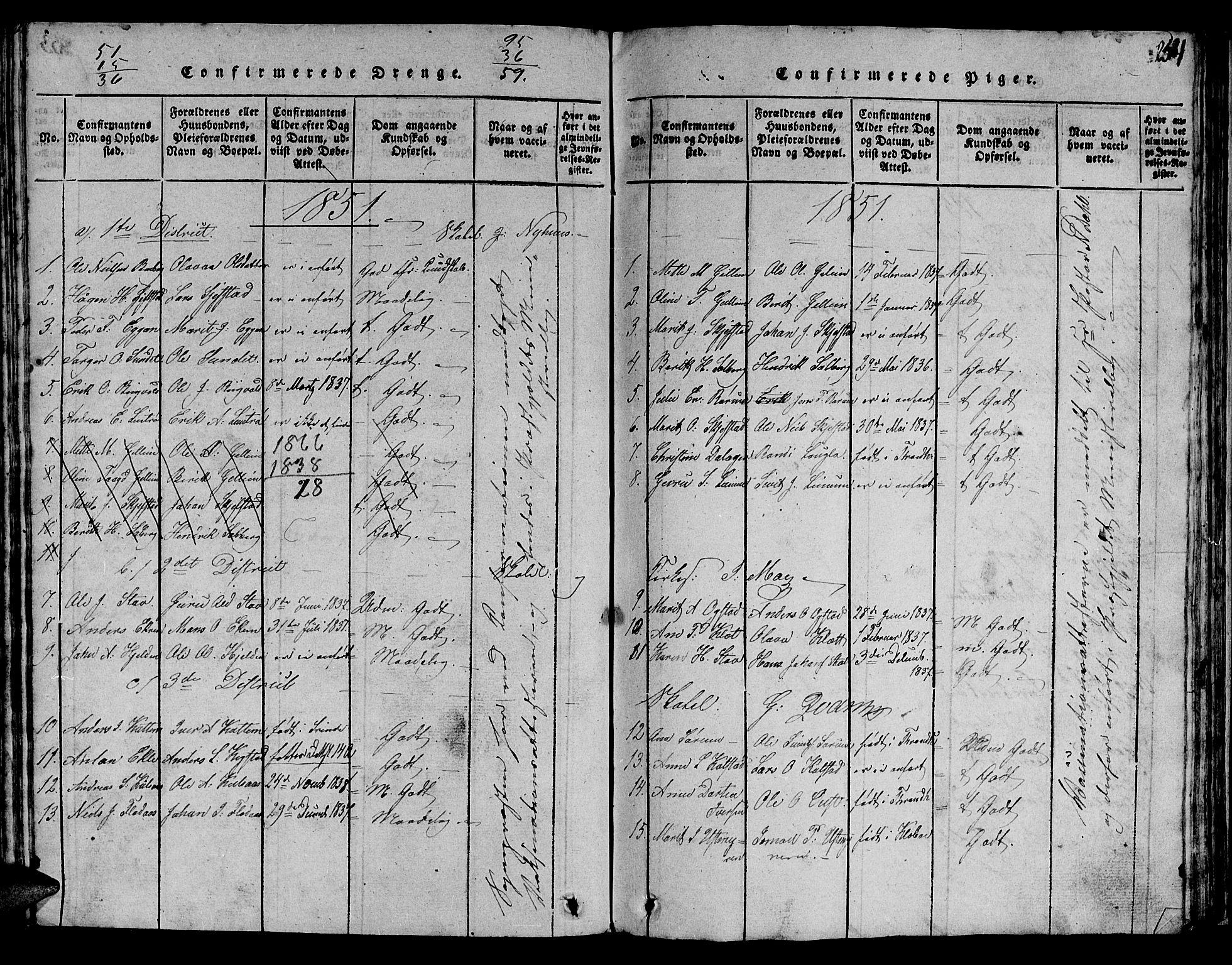 SAT, Ministerialprotokoller, klokkerbøker og fødselsregistre - Sør-Trøndelag, 613/L0393: Klokkerbok nr. 613C01, 1816-1886, s. 254