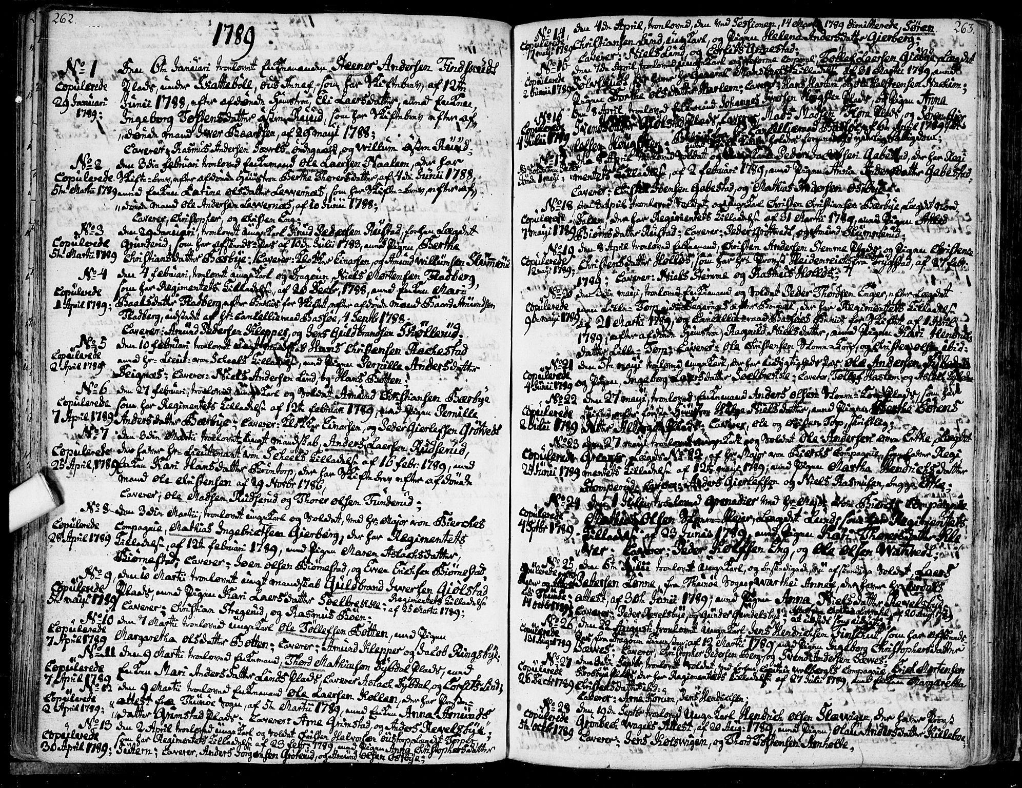 SAO, Rakkestad prestekontor Kirkebøker, F/Fa/L0005: Ministerialbok nr. I 5, 1784-1814, s. 262-263