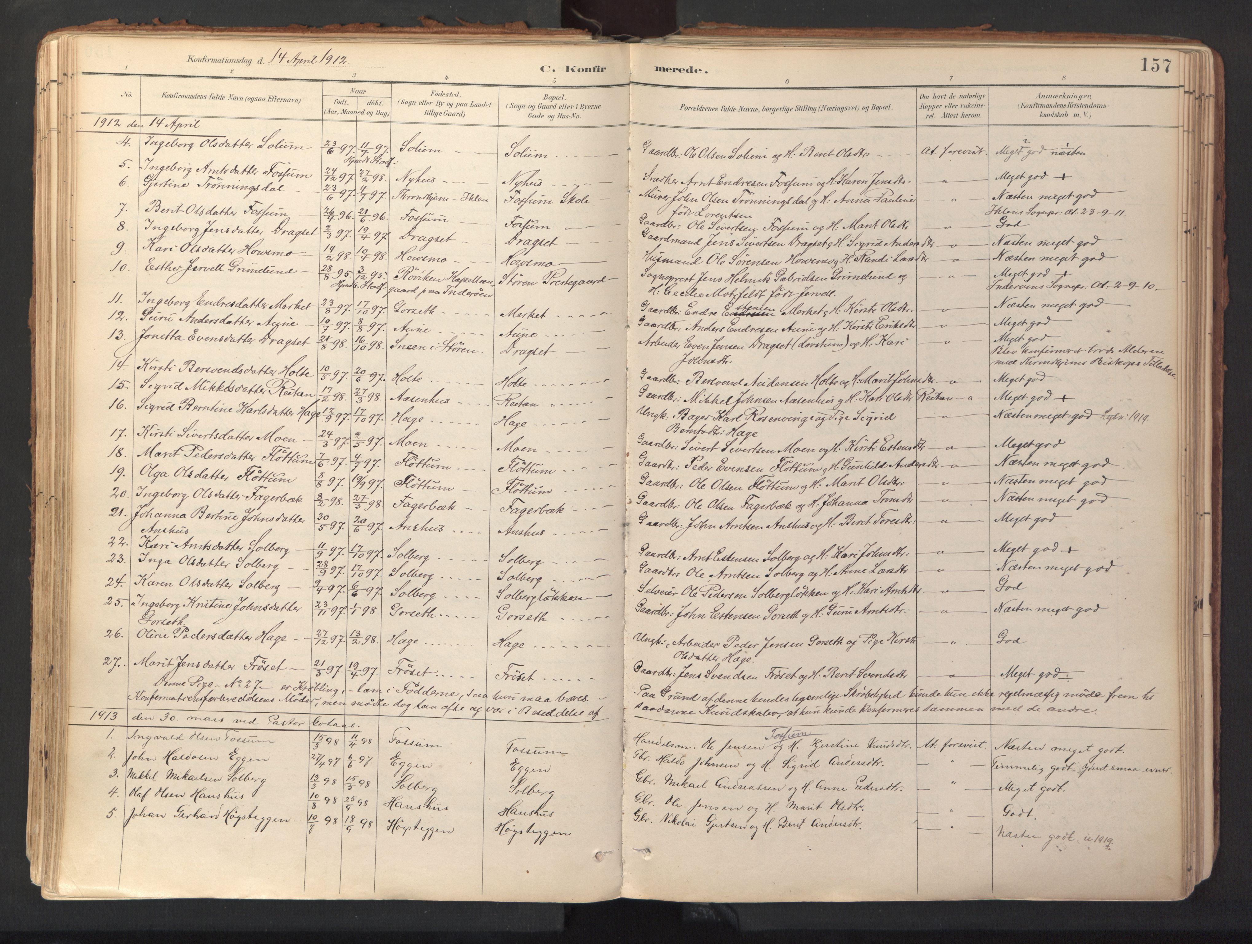 SAT, Ministerialprotokoller, klokkerbøker og fødselsregistre - Sør-Trøndelag, 689/L1041: Ministerialbok nr. 689A06, 1891-1923, s. 157
