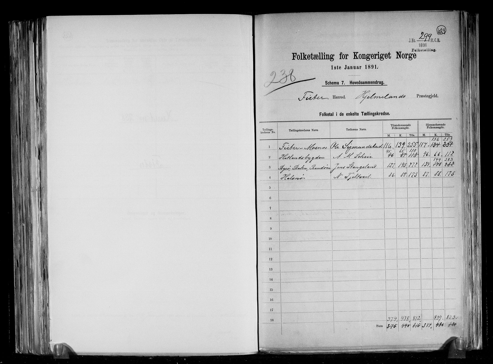 RA, Folketelling 1891 for 1132 Fister herred, 1891, s. 2