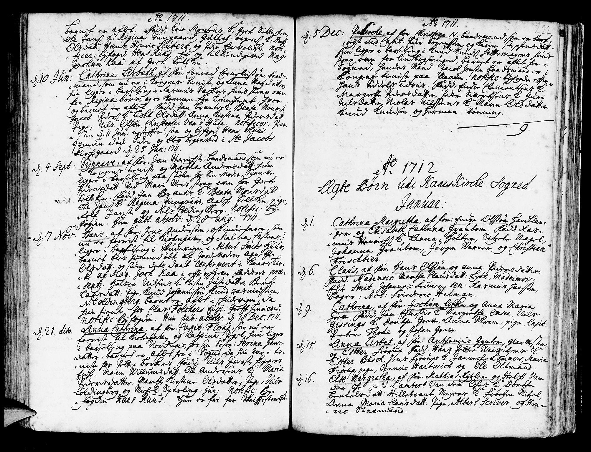 SAB, Korskirken Sokneprestembete, H/Haa/L0003: Ministerialbok nr. A 3, 1698-1719, s. 222