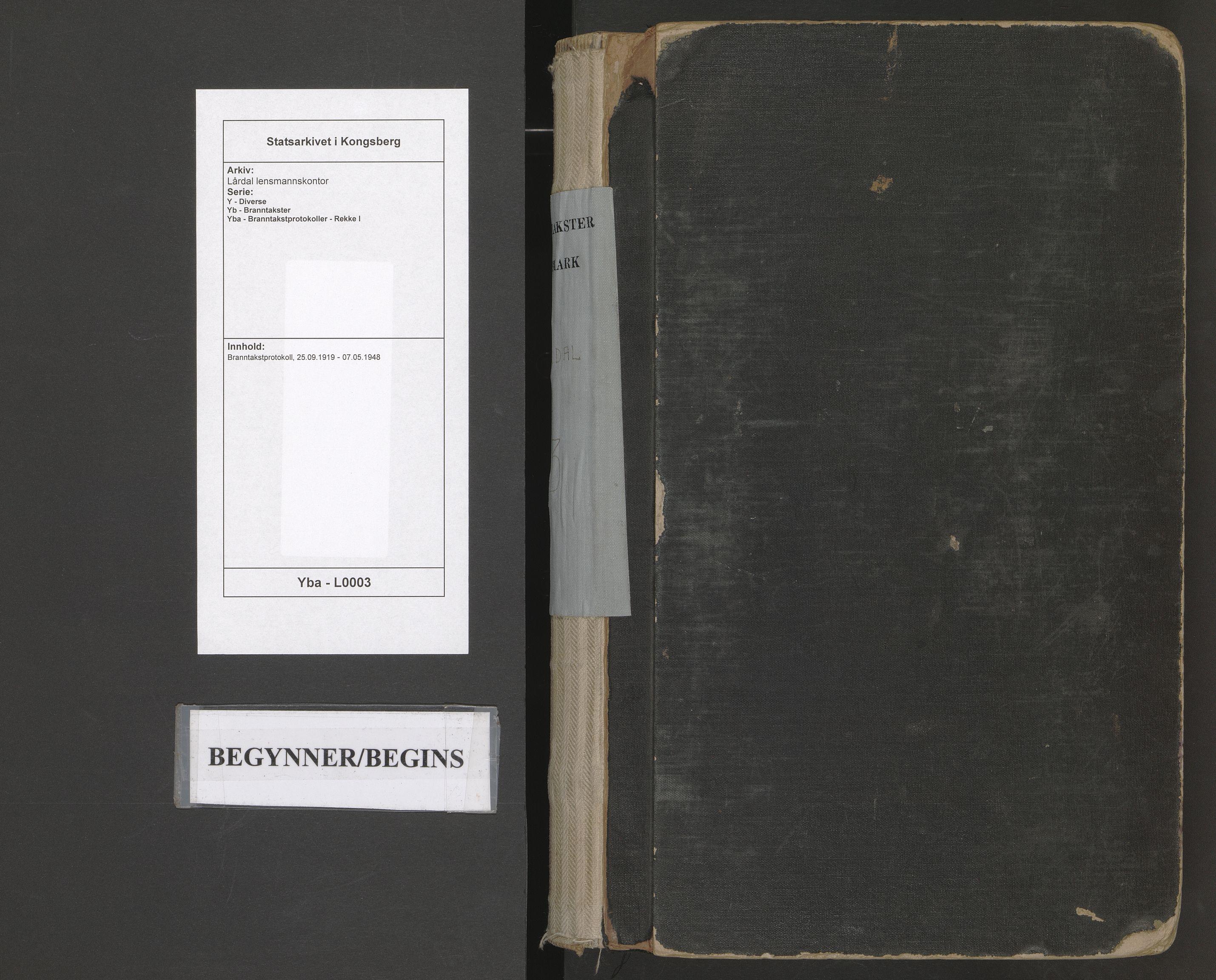 SAKO, Lårdal lensmannskontor, Y/Yb/Yba/L0003: Branntakstprotokoll, 1919-1948