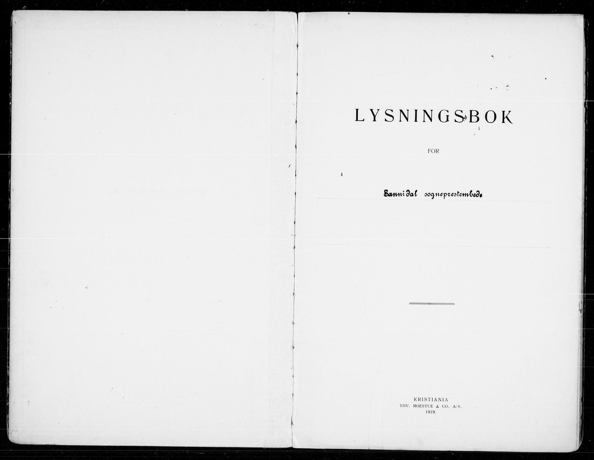 SAKO, Sannidal kirkebøker, H/Ha/L0002: Lysningsprotokoll nr. 2, 1919-1942
