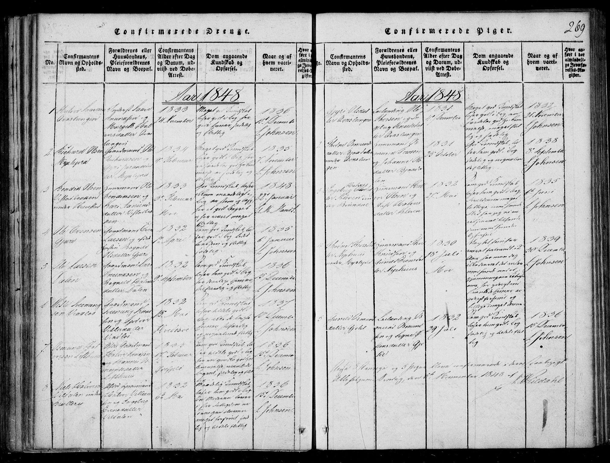 SAKO, Lårdal kirkebøker, F/Fb/L0001: Ministerialbok nr. II 1, 1815-1860, s. 269