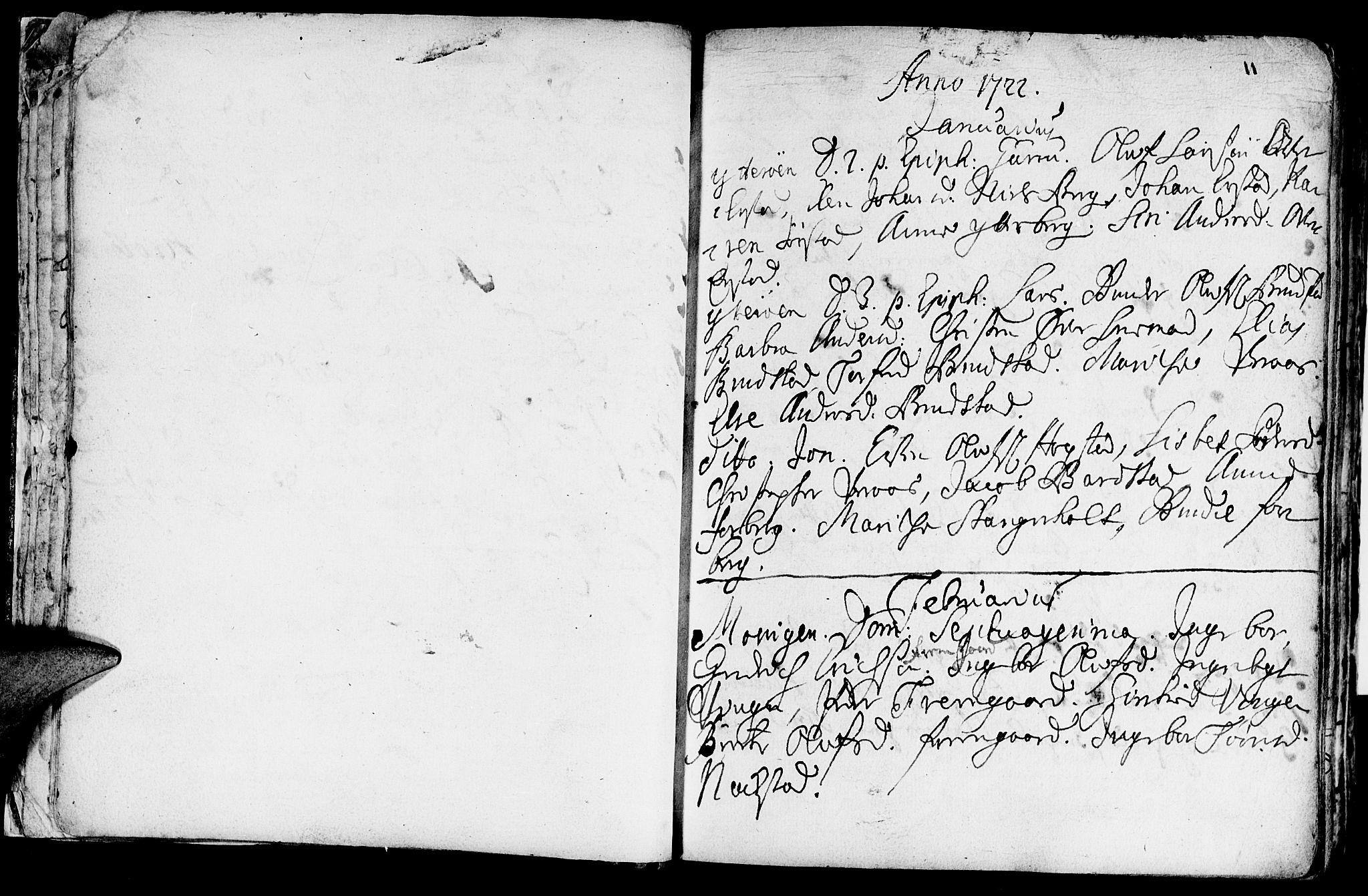 SAT, Ministerialprotokoller, klokkerbøker og fødselsregistre - Nord-Trøndelag, 722/L0215: Ministerialbok nr. 722A02, 1718-1755, s. 11
