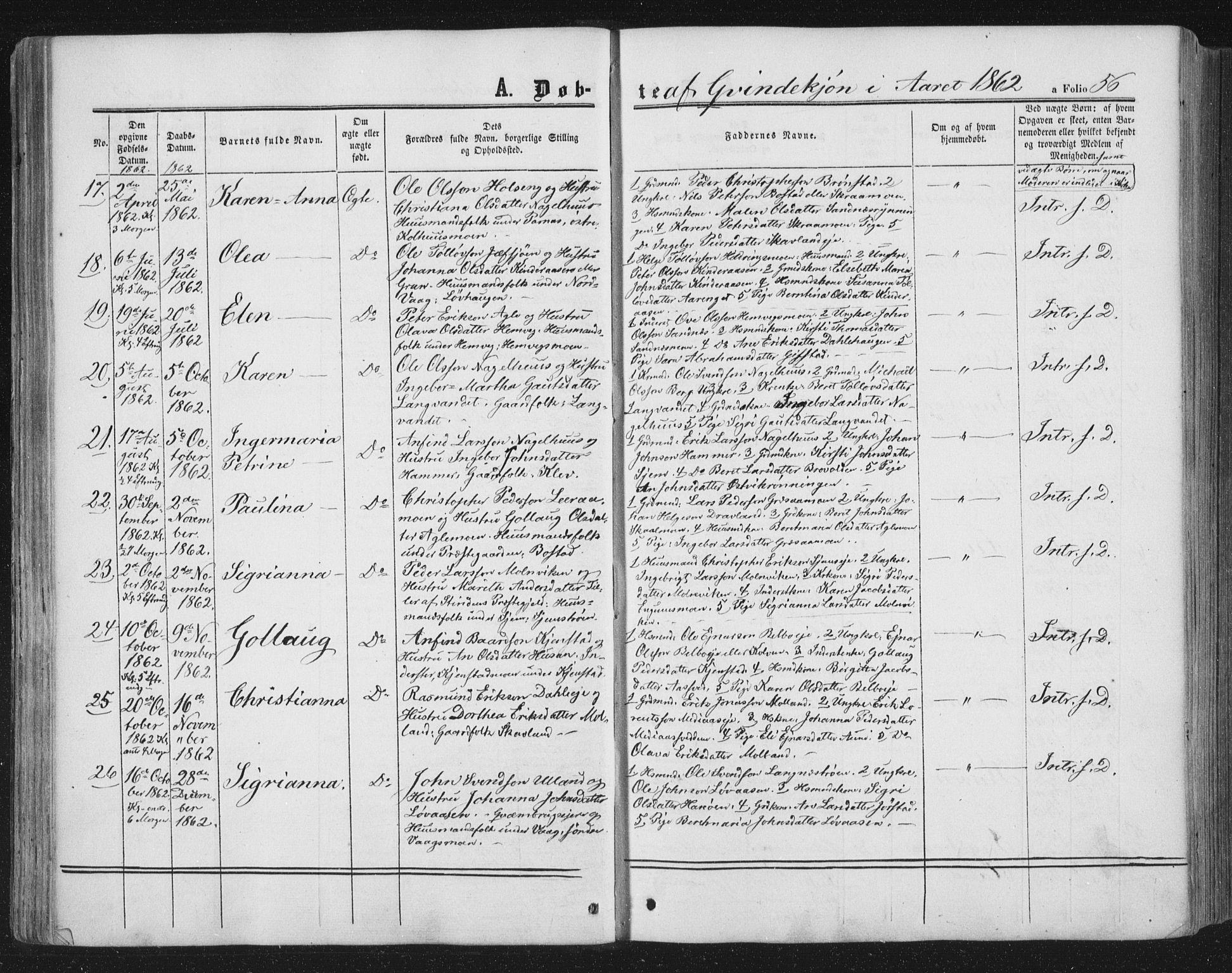SAT, Ministerialprotokoller, klokkerbøker og fødselsregistre - Nord-Trøndelag, 749/L0472: Ministerialbok nr. 749A06, 1857-1873, s. 56