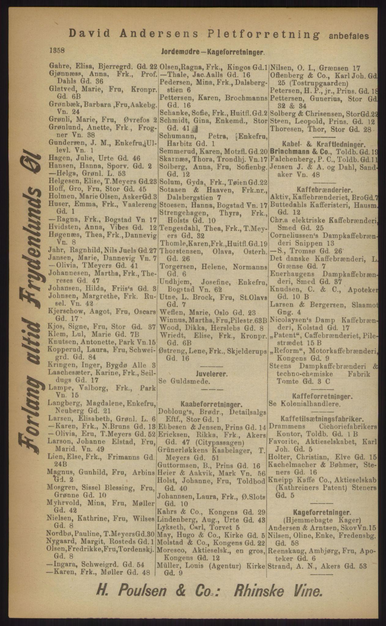 RA, Kristiania adressebok (publikasjon)*, 1903, s. 1358