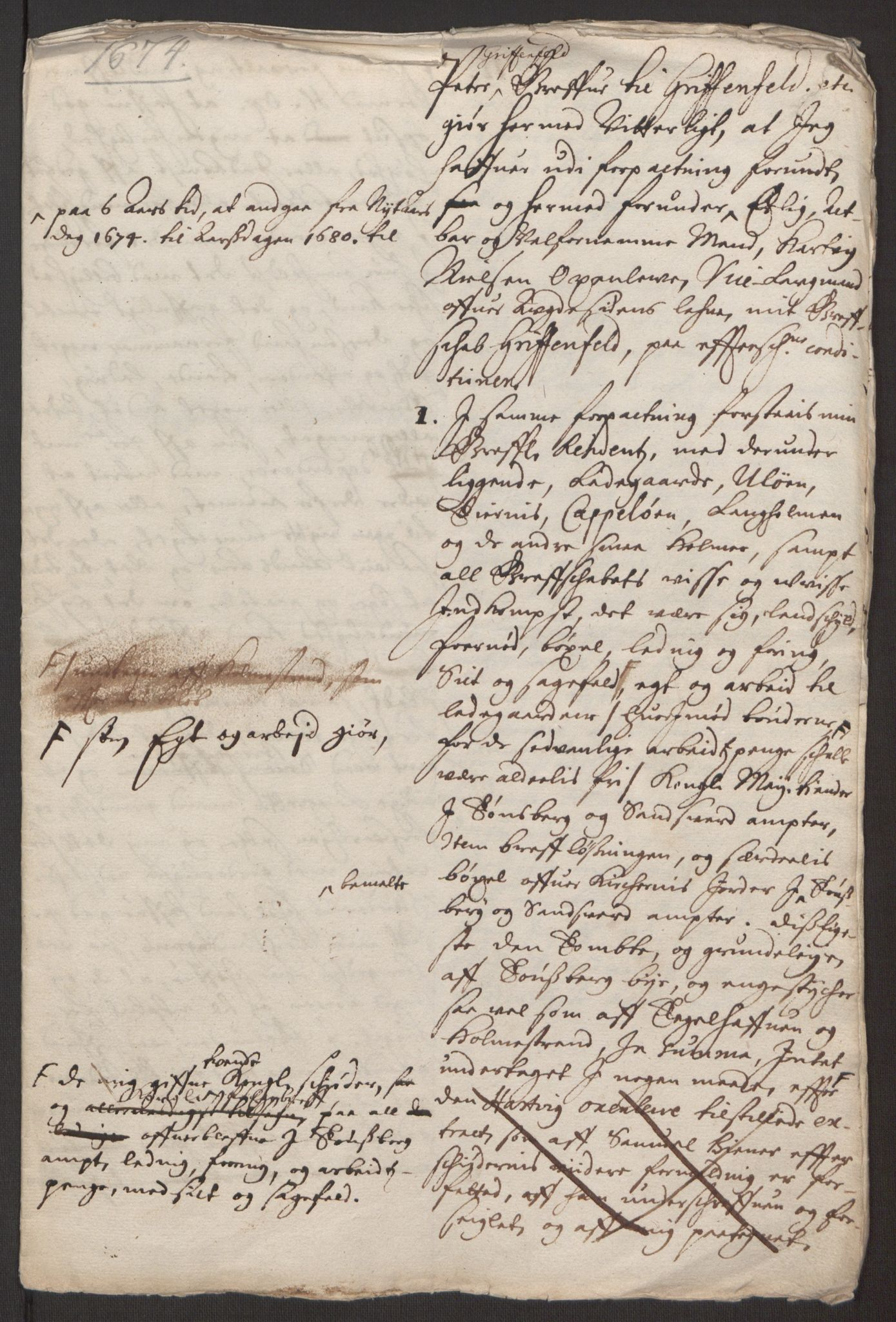 RA, Rentekammeret inntil 1814, Reviderte regnskaper, Fogderegnskap, R32/L1843: Fogderegnskap Jarlsberg grevskap, 1674-1675, s. 105