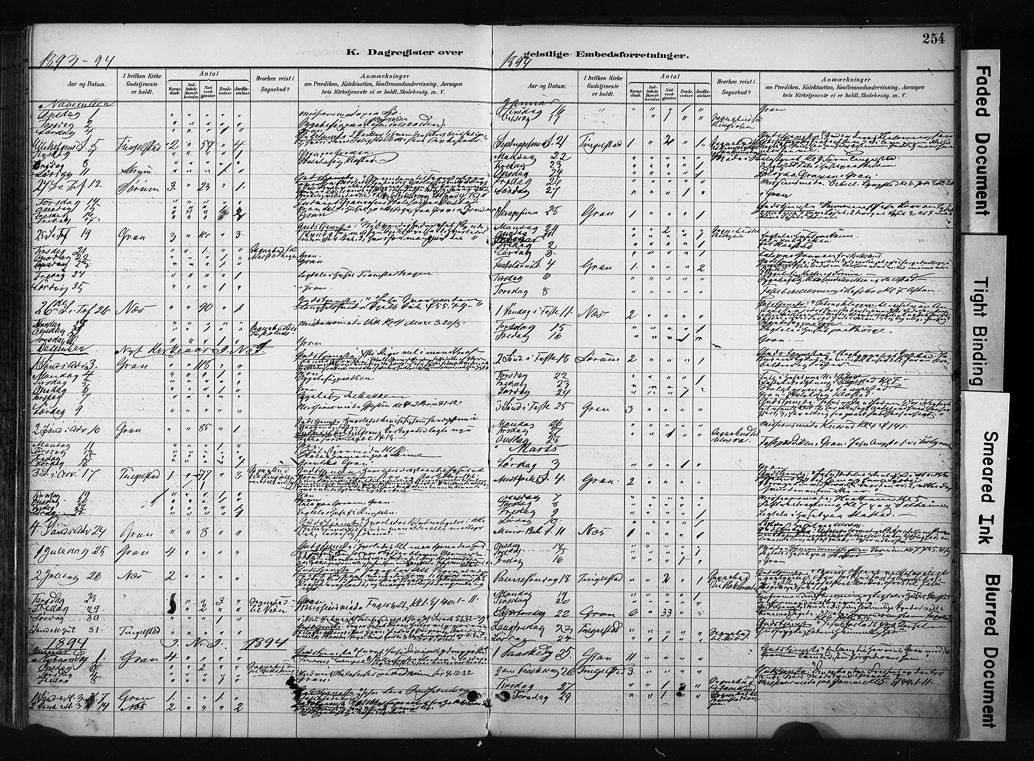 SAH, Gran prestekontor, Ministerialbok nr. 17, 1889-1897, s. 254