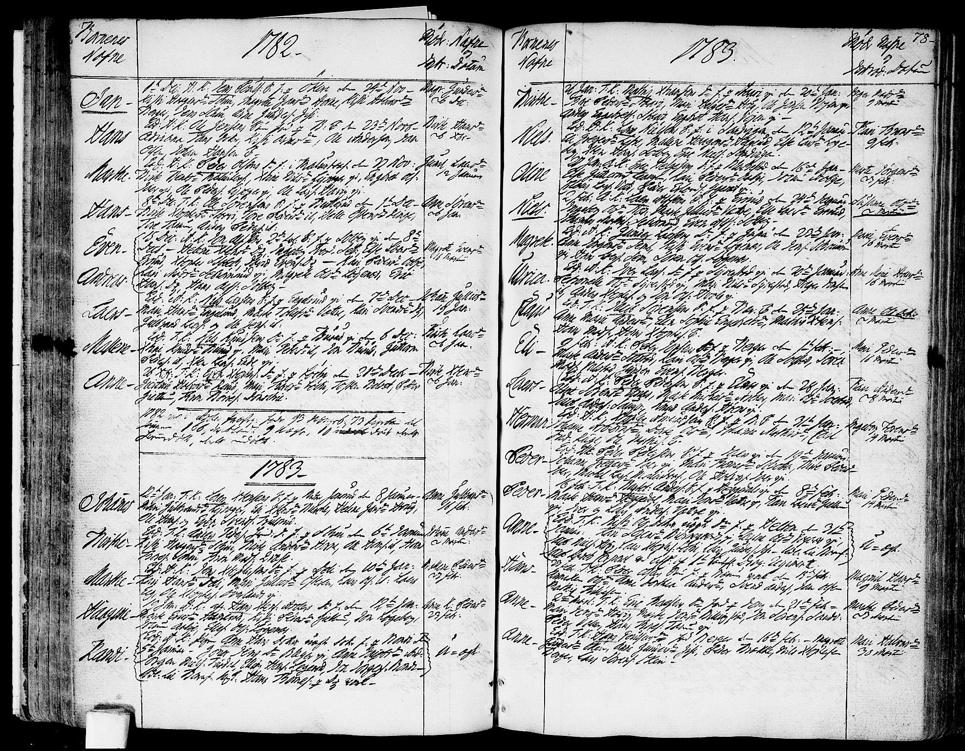 SAO, Asker prestekontor Kirkebøker, F/Fa/L0003: Ministerialbok nr. I 3, 1767-1807, s. 78