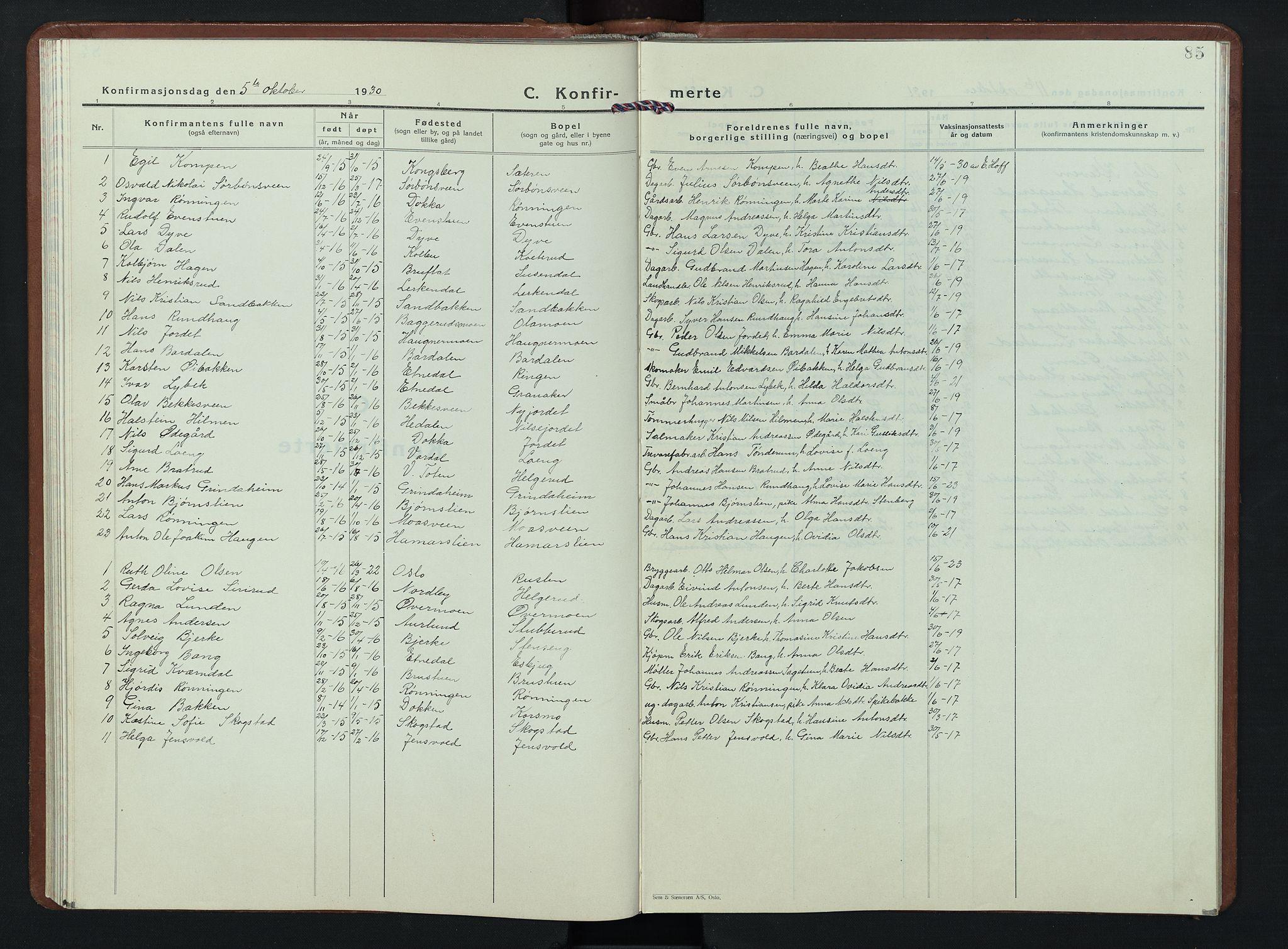 SAH, Nordre Land prestekontor, Klokkerbok nr. 7, 1930-1953, s. 85