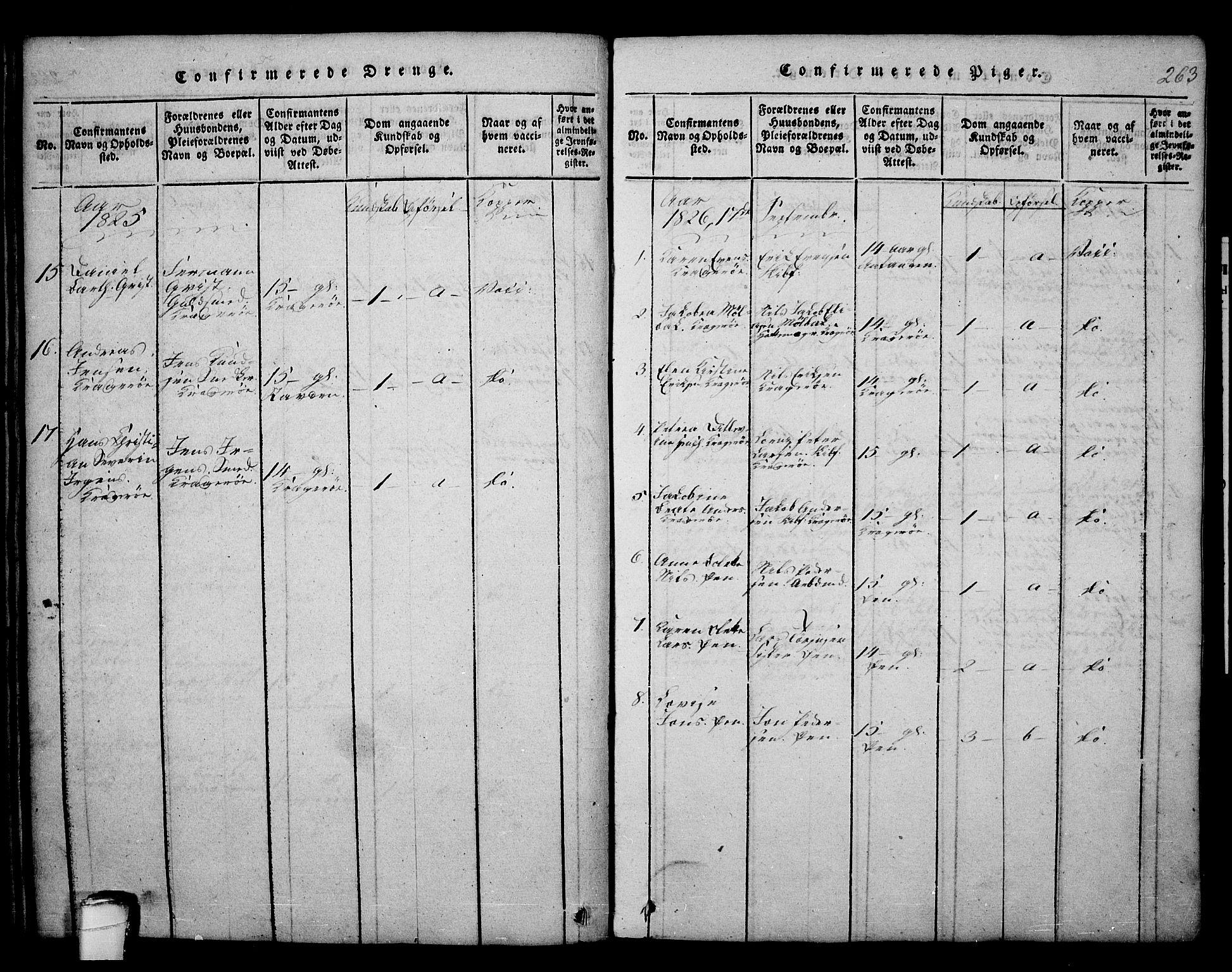 SAKO, Kragerø kirkebøker, F/Fa/L0004: Ministerialbok nr. 4, 1814-1831, s. 263