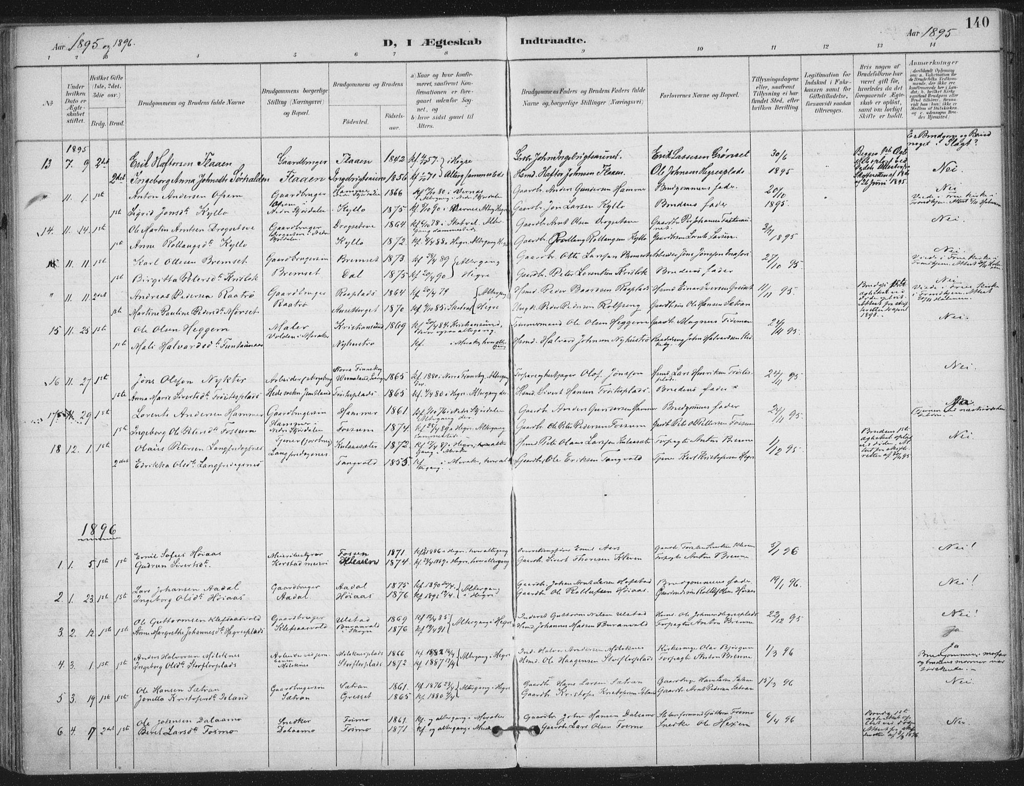 SAT, Ministerialprotokoller, klokkerbøker og fødselsregistre - Nord-Trøndelag, 703/L0031: Ministerialbok nr. 703A04, 1893-1914, s. 140