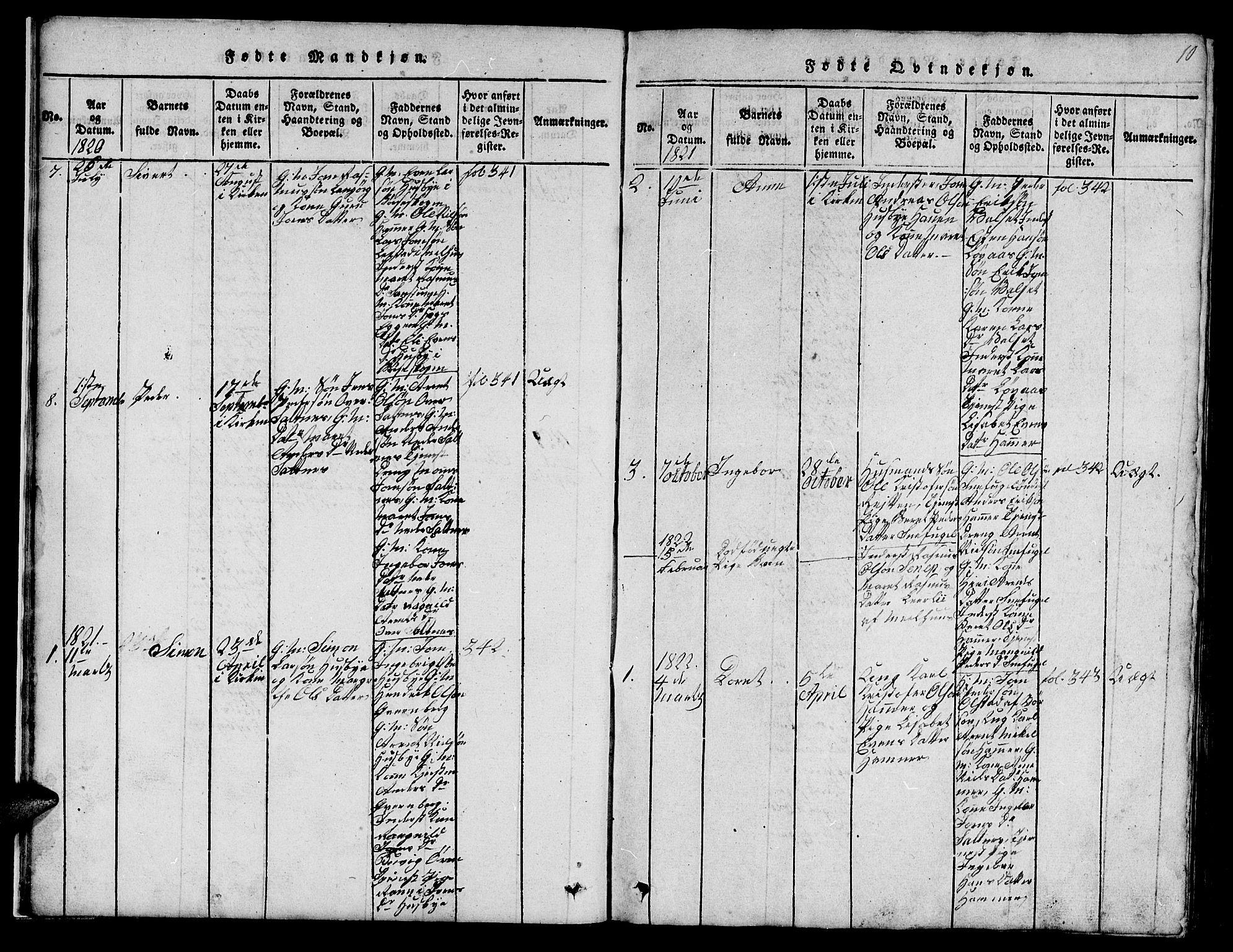 SAT, Ministerialprotokoller, klokkerbøker og fødselsregistre - Sør-Trøndelag, 666/L0788: Klokkerbok nr. 666C01, 1816-1847, s. 10