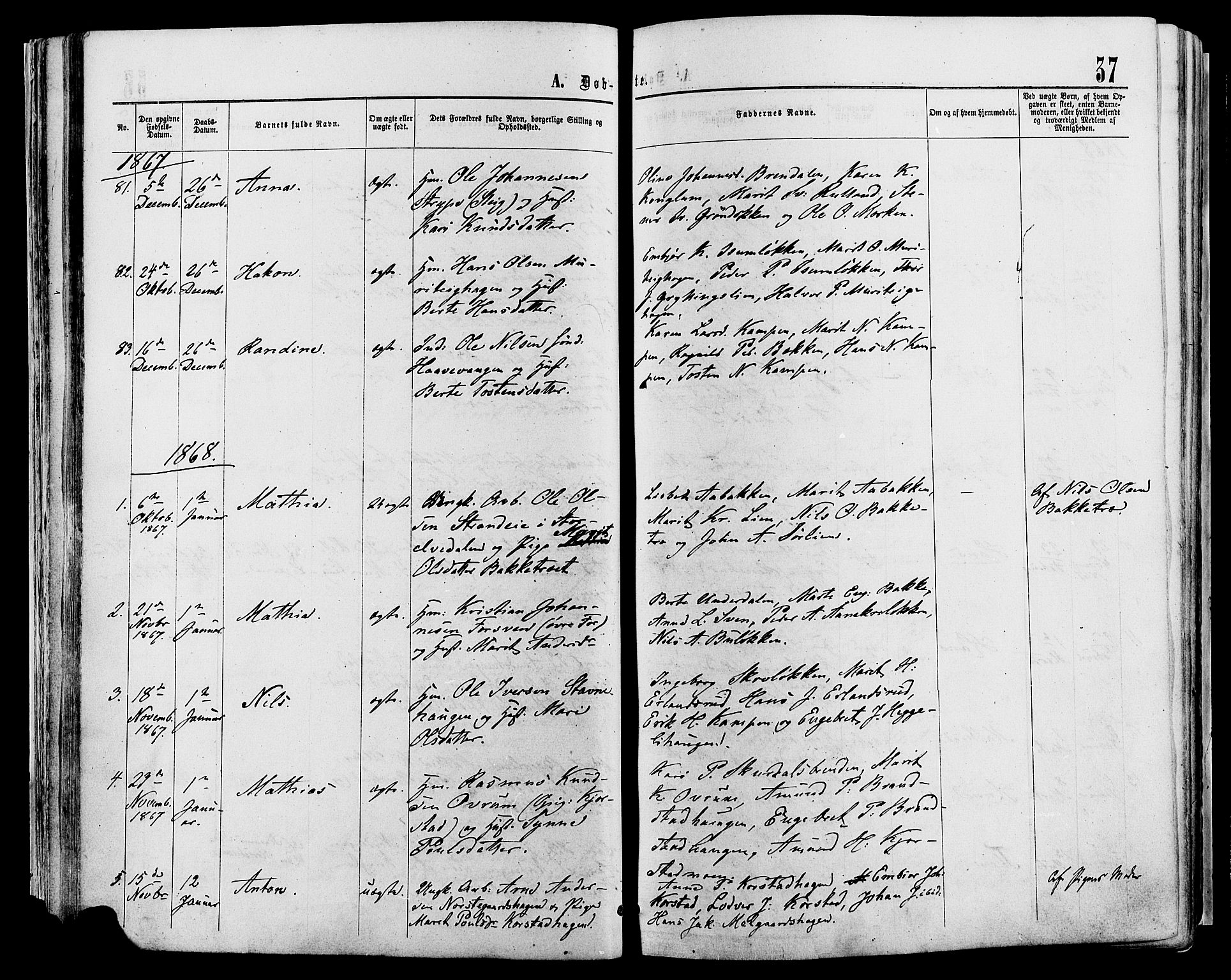 SAH, Sør-Fron prestekontor, H/Ha/Haa/L0002: Ministerialbok nr. 2, 1864-1880, s. 37