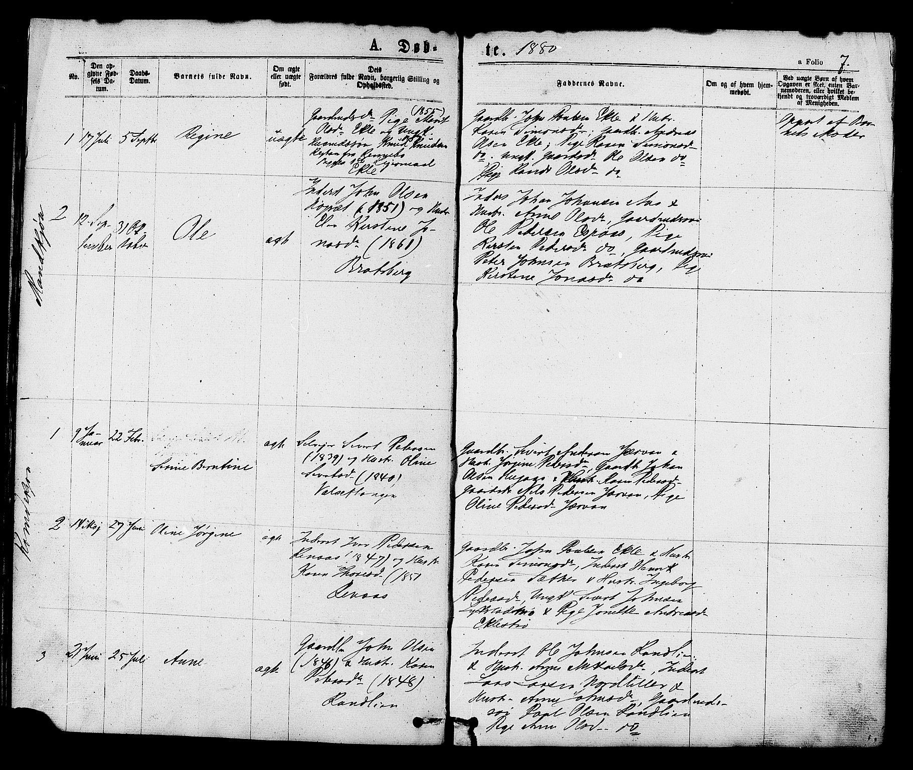SAT, Ministerialprotokoller, klokkerbøker og fødselsregistre - Sør-Trøndelag, 608/L0334: Ministerialbok nr. 608A03, 1877-1886, s. 7