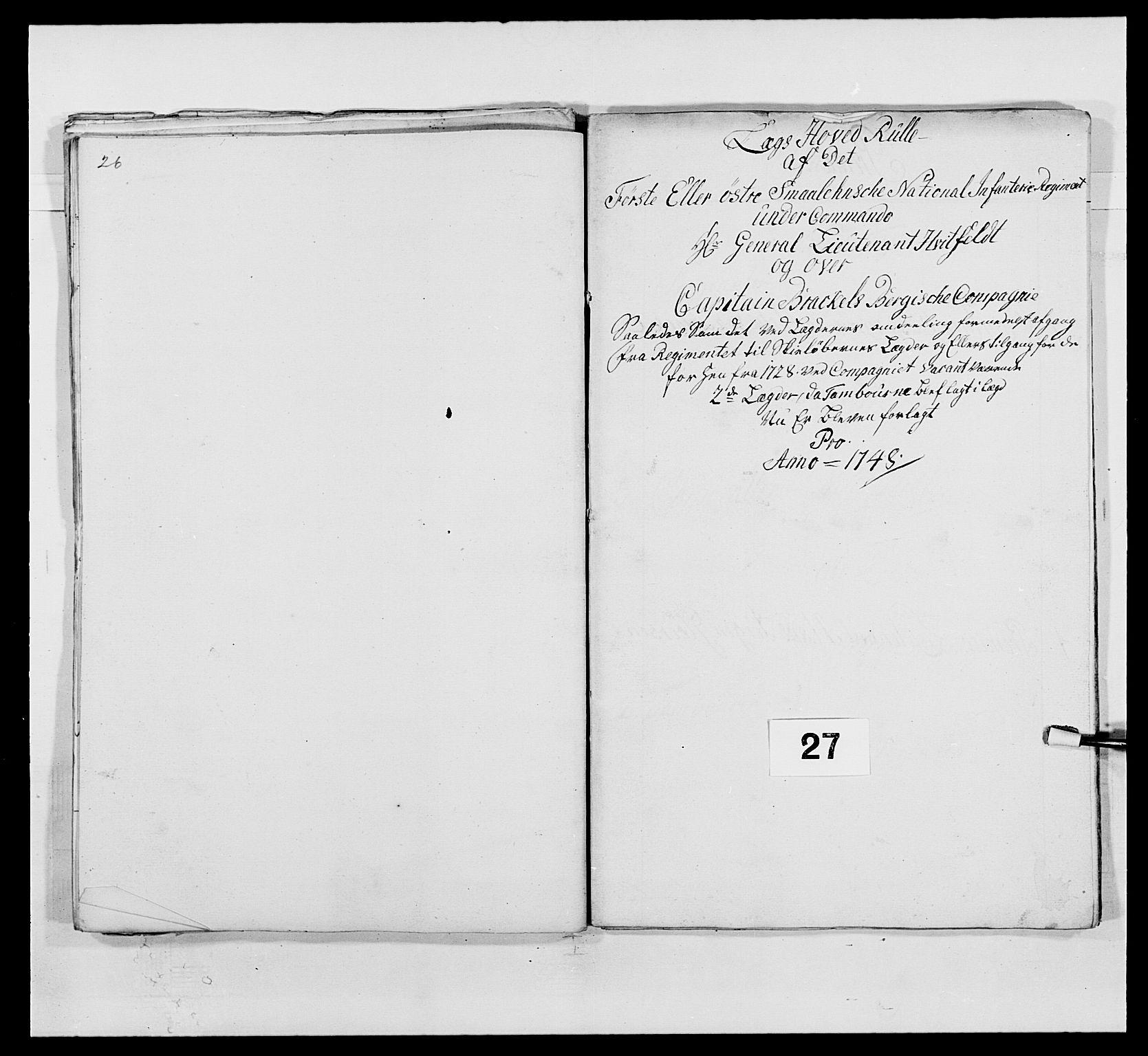RA, Kommanderende general (KG I) med Det norske krigsdirektorium, E/Ea/L0495: 1. Smålenske regiment, 1732-1763, s. 407