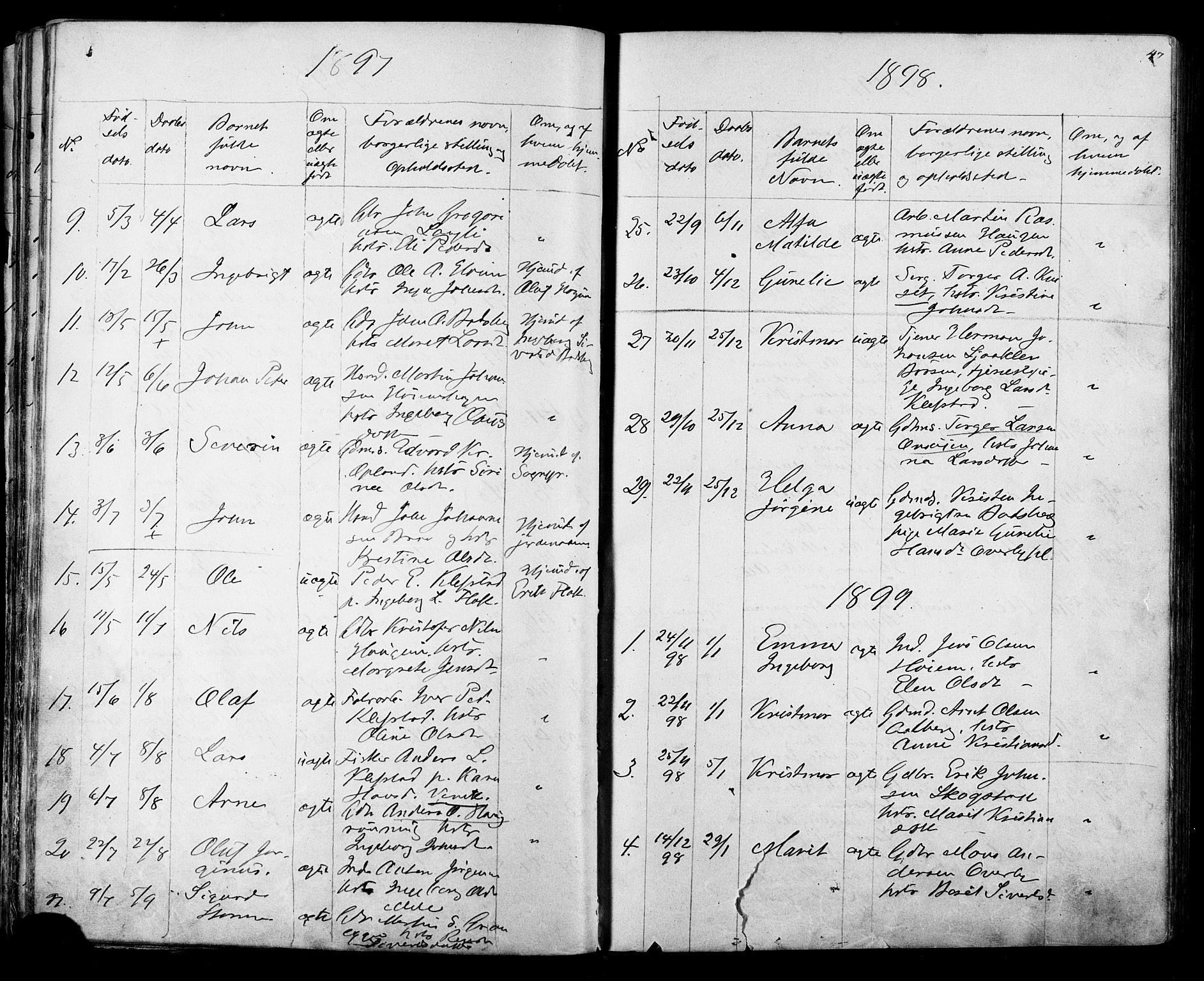 SAT, Ministerialprotokoller, klokkerbøker og fødselsregistre - Sør-Trøndelag, 612/L0387: Klokkerbok nr. 612C03, 1874-1908, s. 47