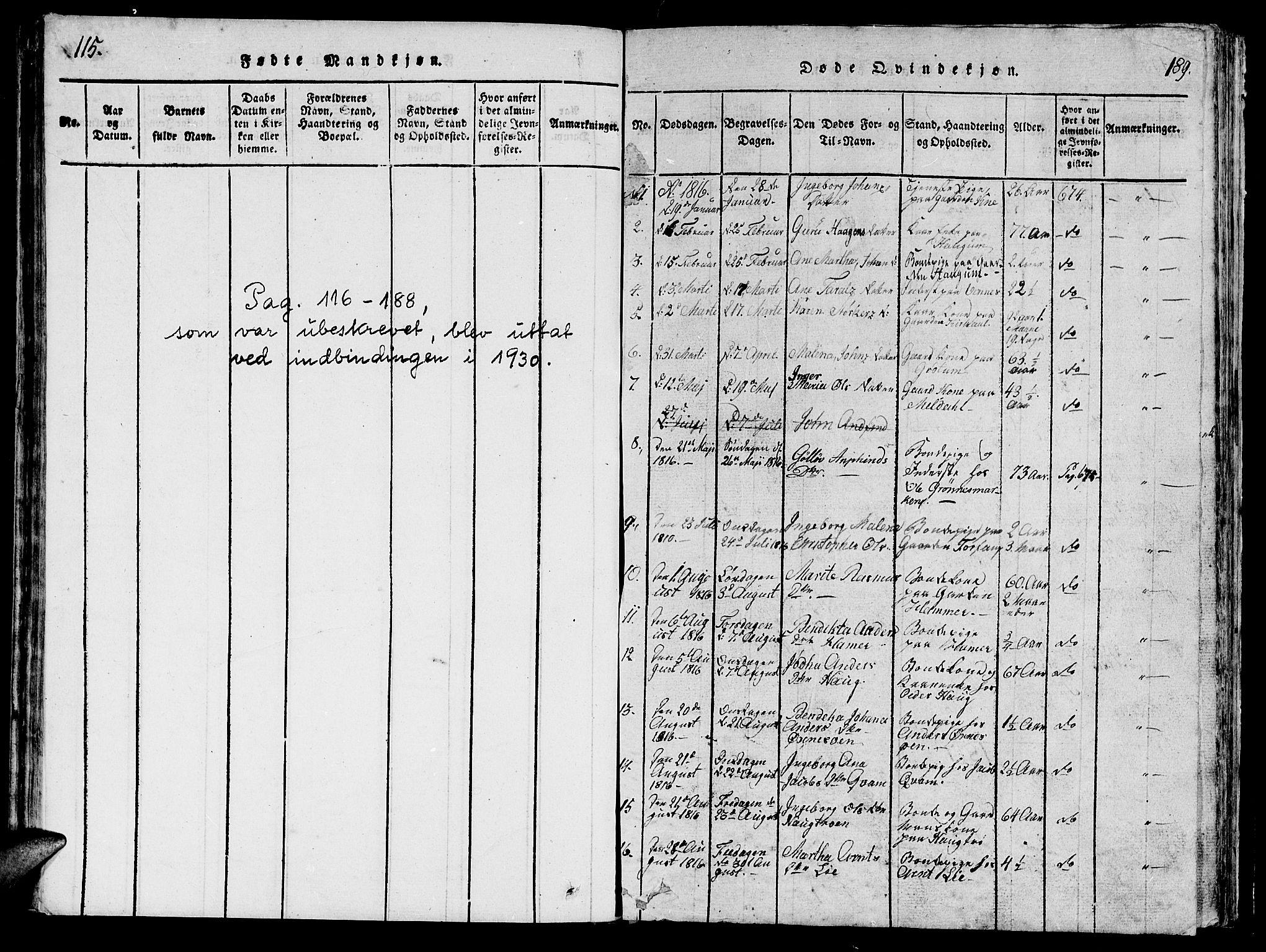 SAT, Ministerialprotokoller, klokkerbøker og fødselsregistre - Nord-Trøndelag, 747/L0459: Klokkerbok nr. 747C01, 1816-1842, s. 115-189