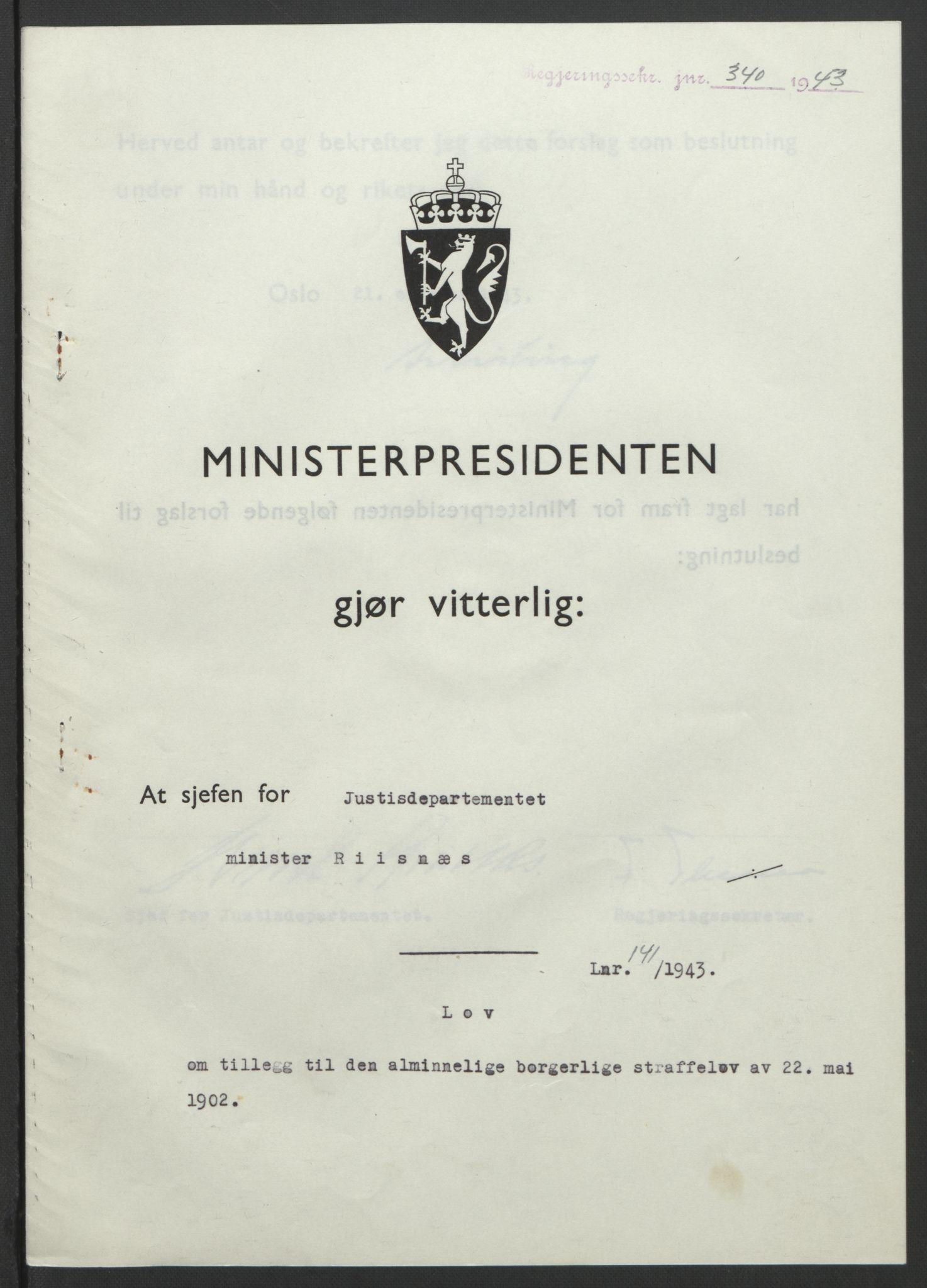 RA, NS-administrasjonen 1940-1945 (Statsrådsekretariatet, de kommisariske statsråder mm), D/Db/L0099: Lover, 1943, s. 657