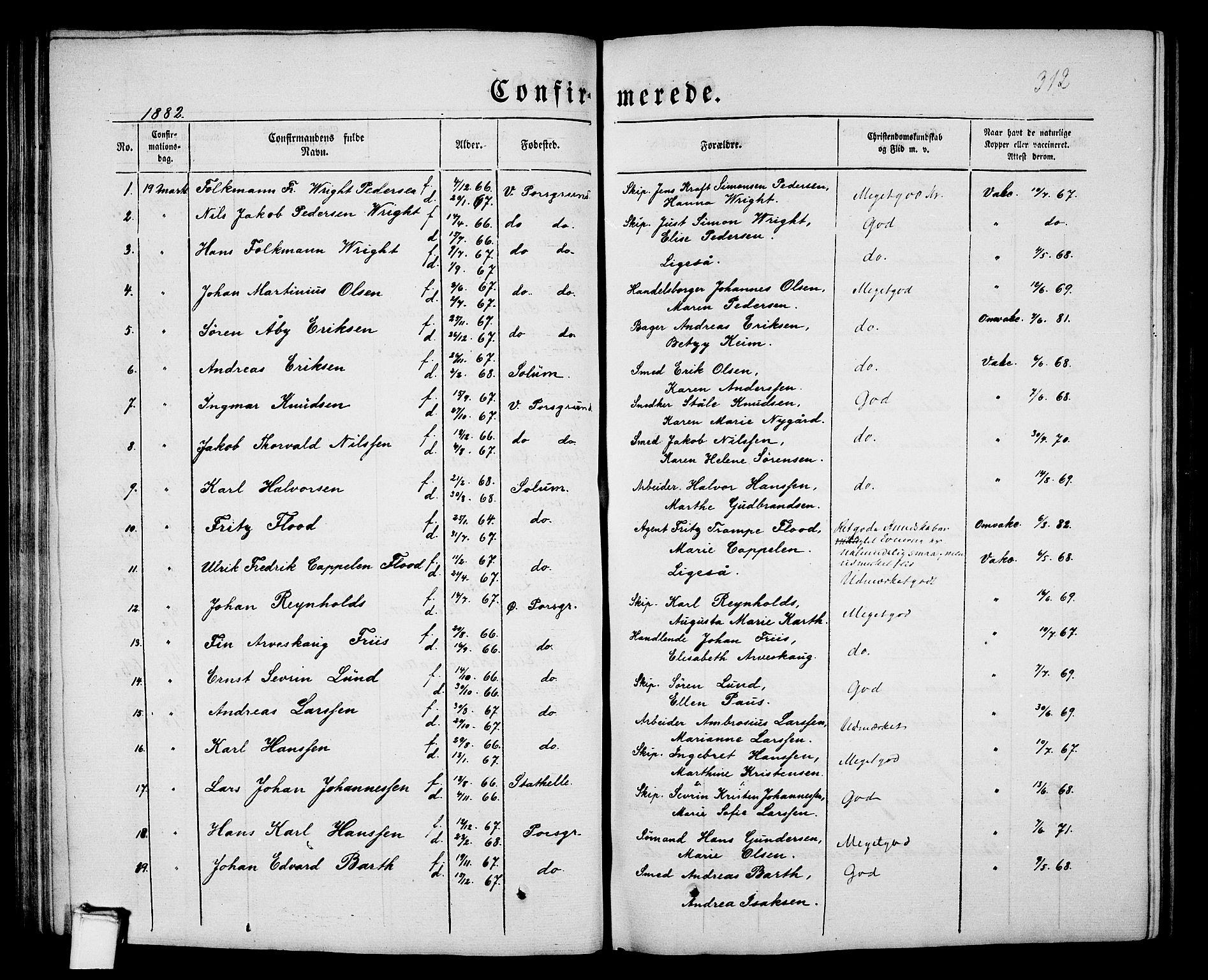 SAKO, Porsgrunn kirkebøker , G/Gb/L0004: Klokkerbok nr. II 4, 1853-1882, s. 312