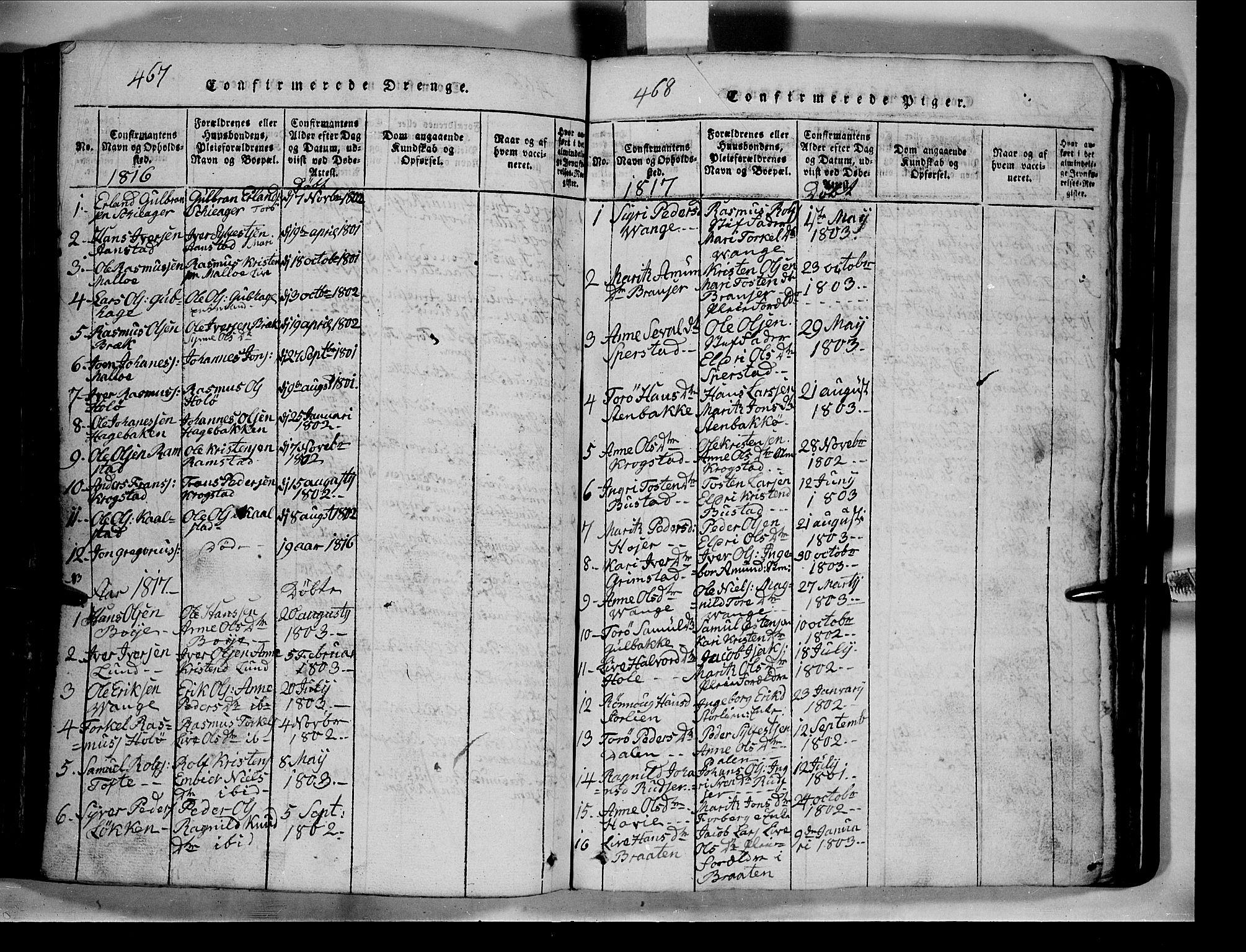 SAH, Lom prestekontor, L/L0003: Klokkerbok nr. 3, 1815-1844, s. 467-468