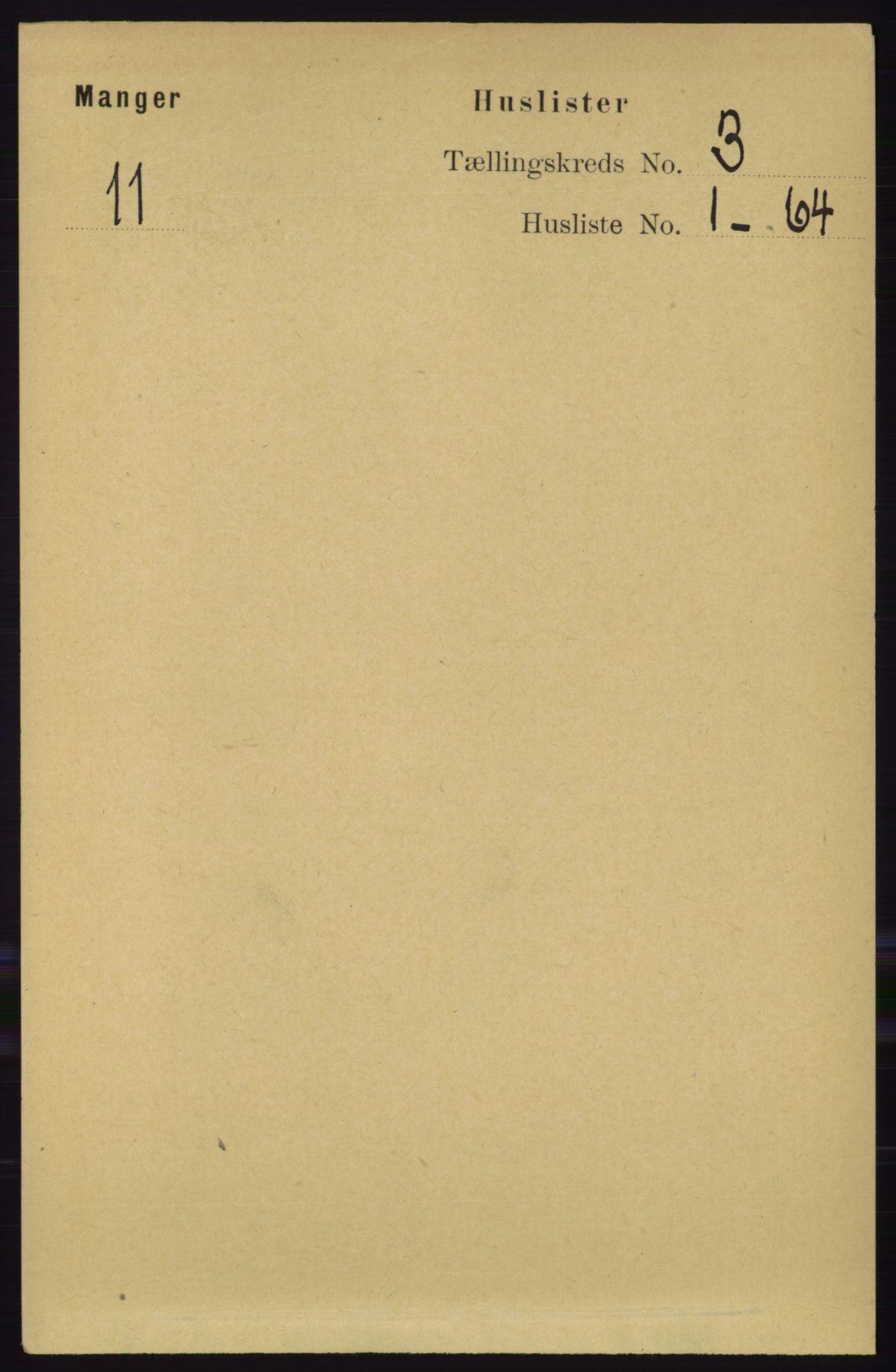 RA, Folketelling 1891 for 1261 Manger herred, 1891, s. 1342