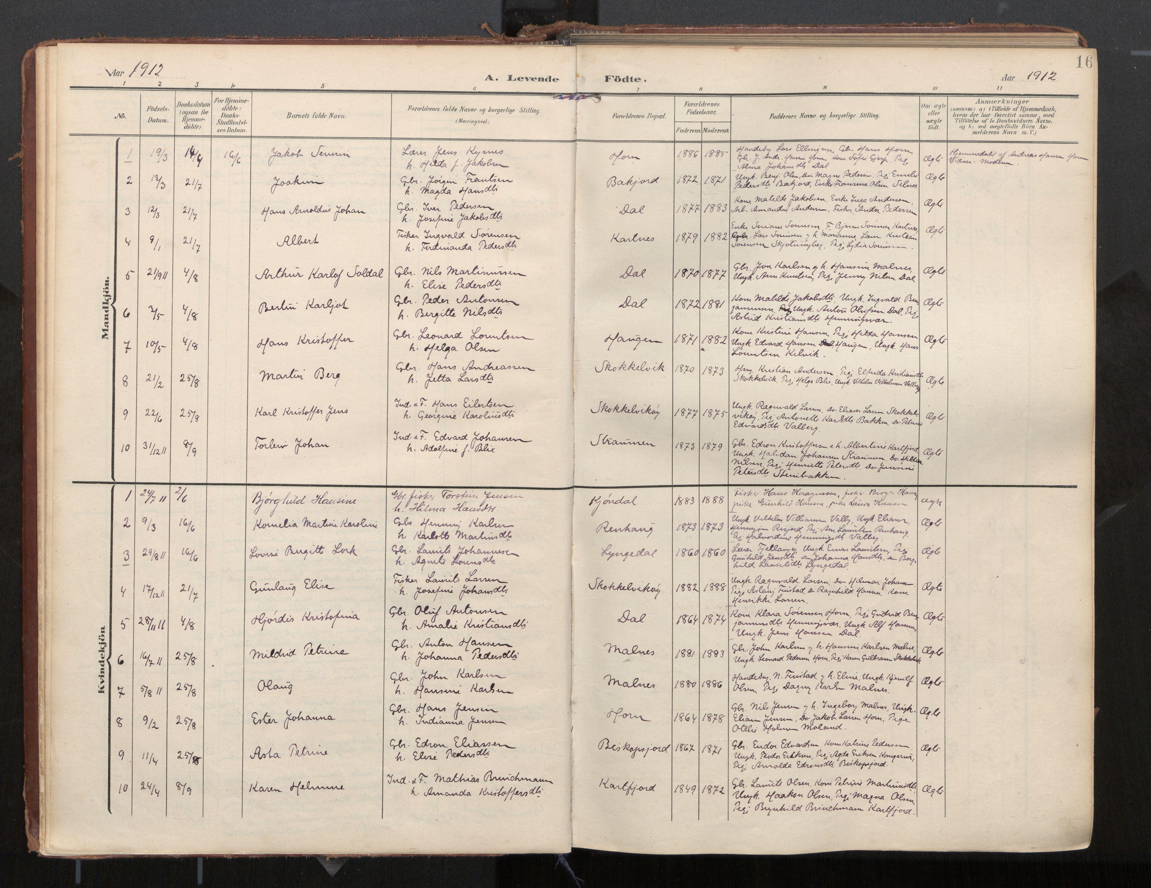 SAT, Ministerialprotokoller, klokkerbøker og fødselsregistre - Nordland, 884/L1194: Ministerialbok nr. 884A02, 1906-1937, s. 16