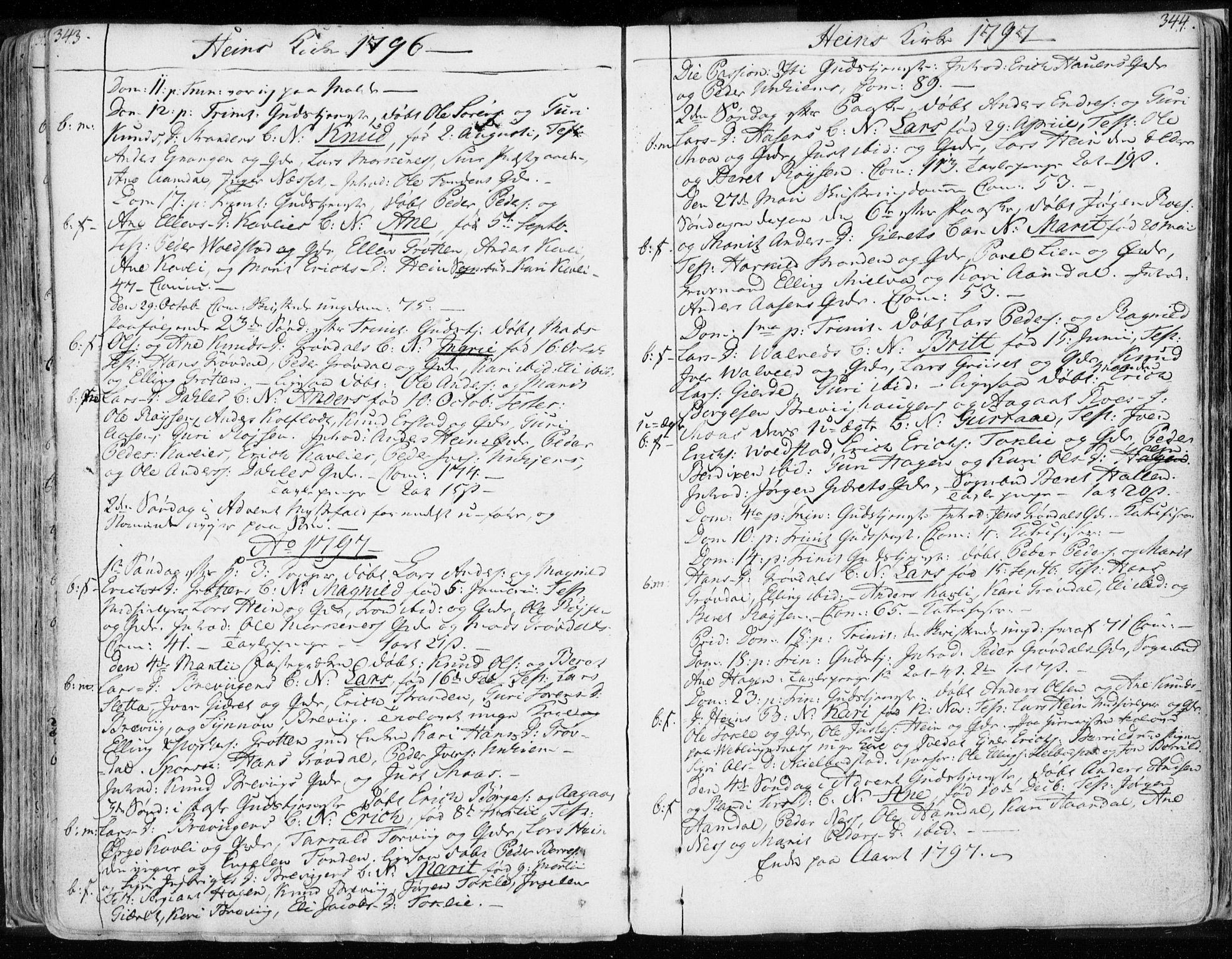 SAT, Ministerialprotokoller, klokkerbøker og fødselsregistre - Møre og Romsdal, 544/L0569: Ministerialbok nr. 544A02, 1764-1806, s. 343-344