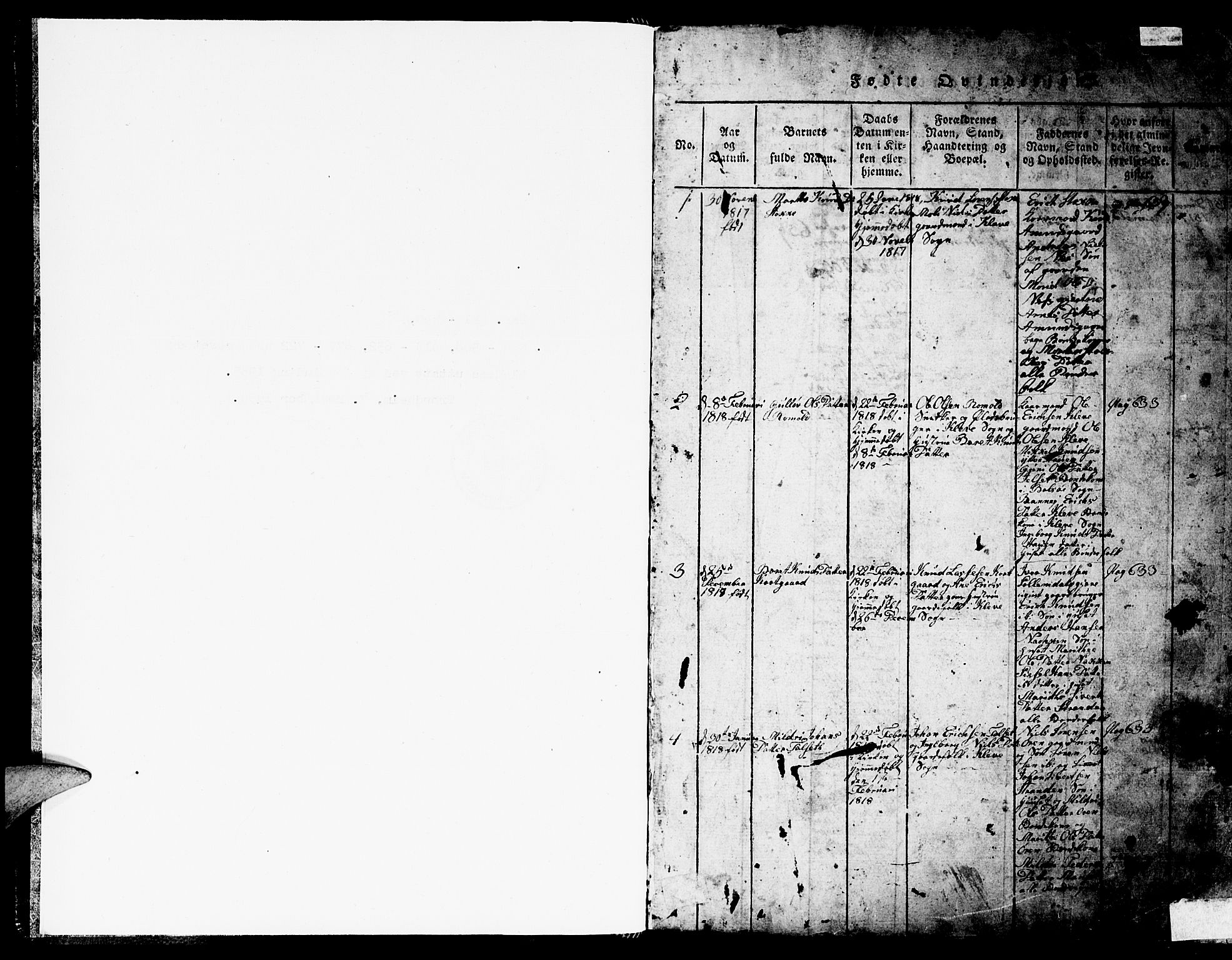 SAT, Ministerialprotokoller, klokkerbøker og fødselsregistre - Møre og Romsdal, 557/L0683: Klokkerbok nr. 557C01, 1818-1862, s. 0-1