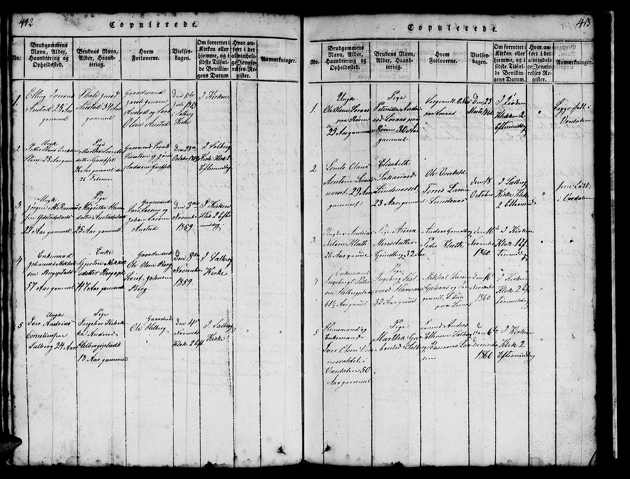 SAT, Ministerialprotokoller, klokkerbøker og fødselsregistre - Nord-Trøndelag, 731/L0310: Klokkerbok nr. 731C01, 1816-1874, s. 412-413