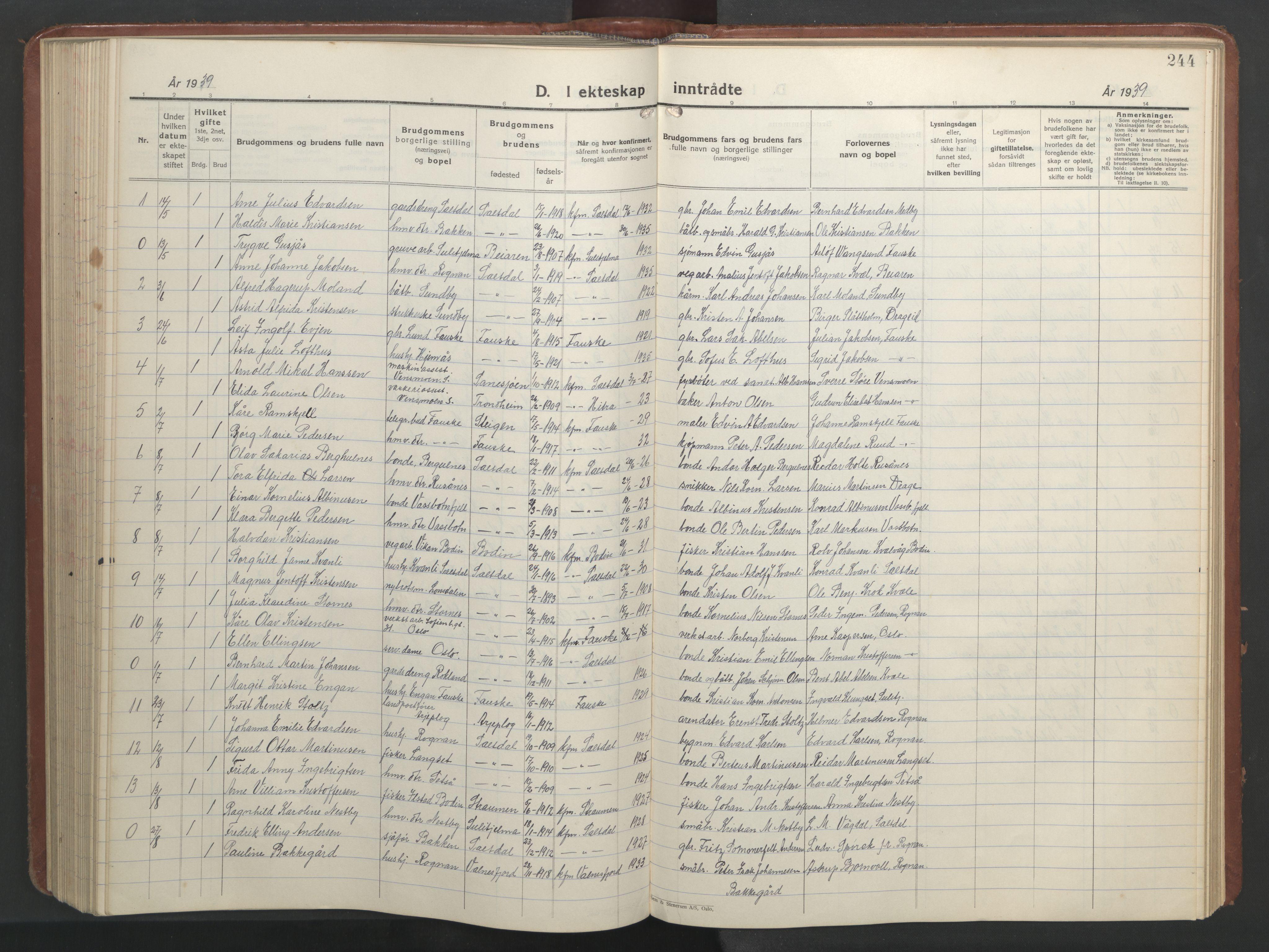 SAT, Ministerialprotokoller, klokkerbøker og fødselsregistre - Nordland, 847/L0680: Klokkerbok nr. 847C08, 1930-1947, s. 244