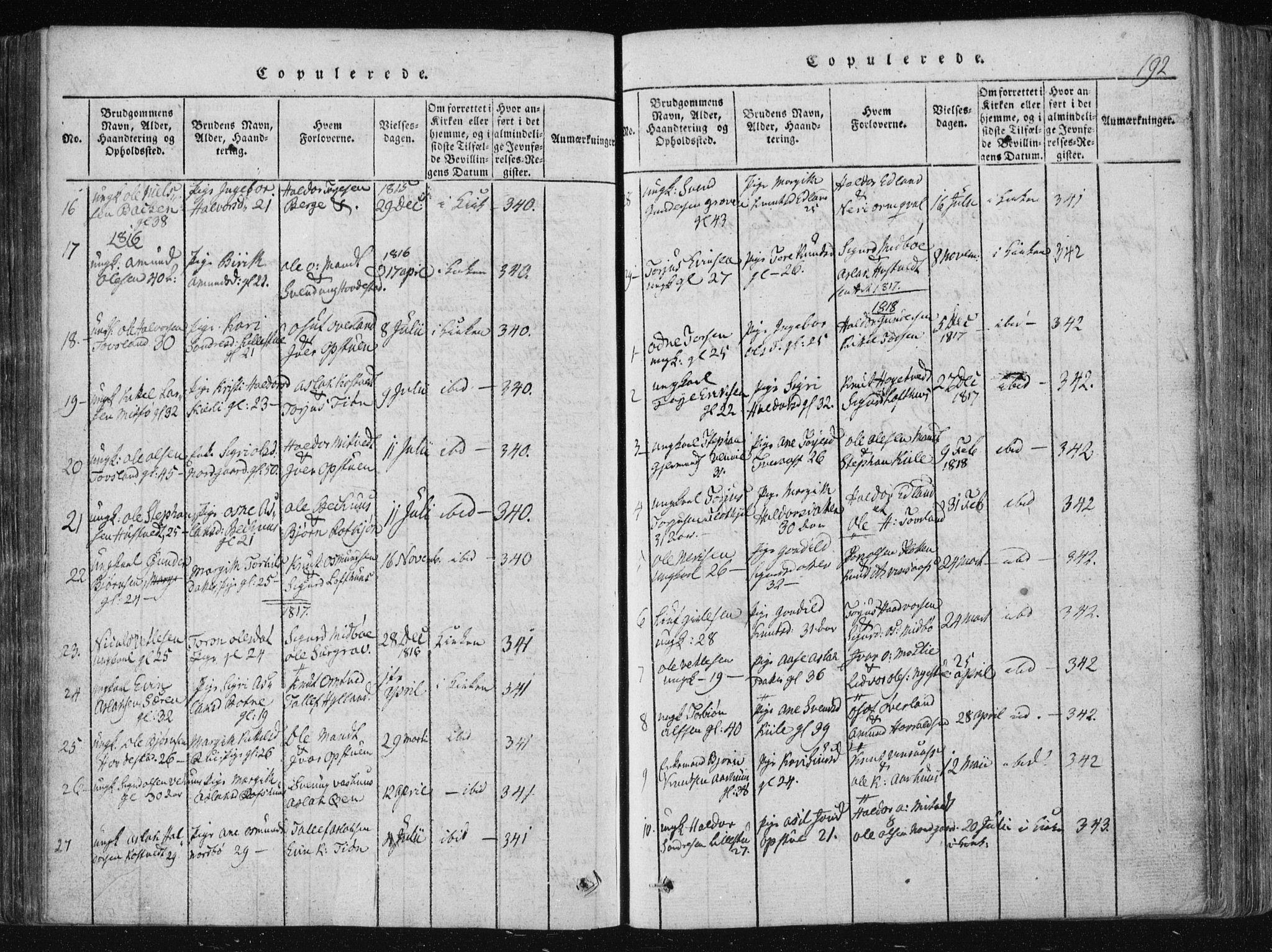 SAKO, Vinje kirkebøker, F/Fa/L0003: Ministerialbok nr. I 3, 1814-1843, s. 192