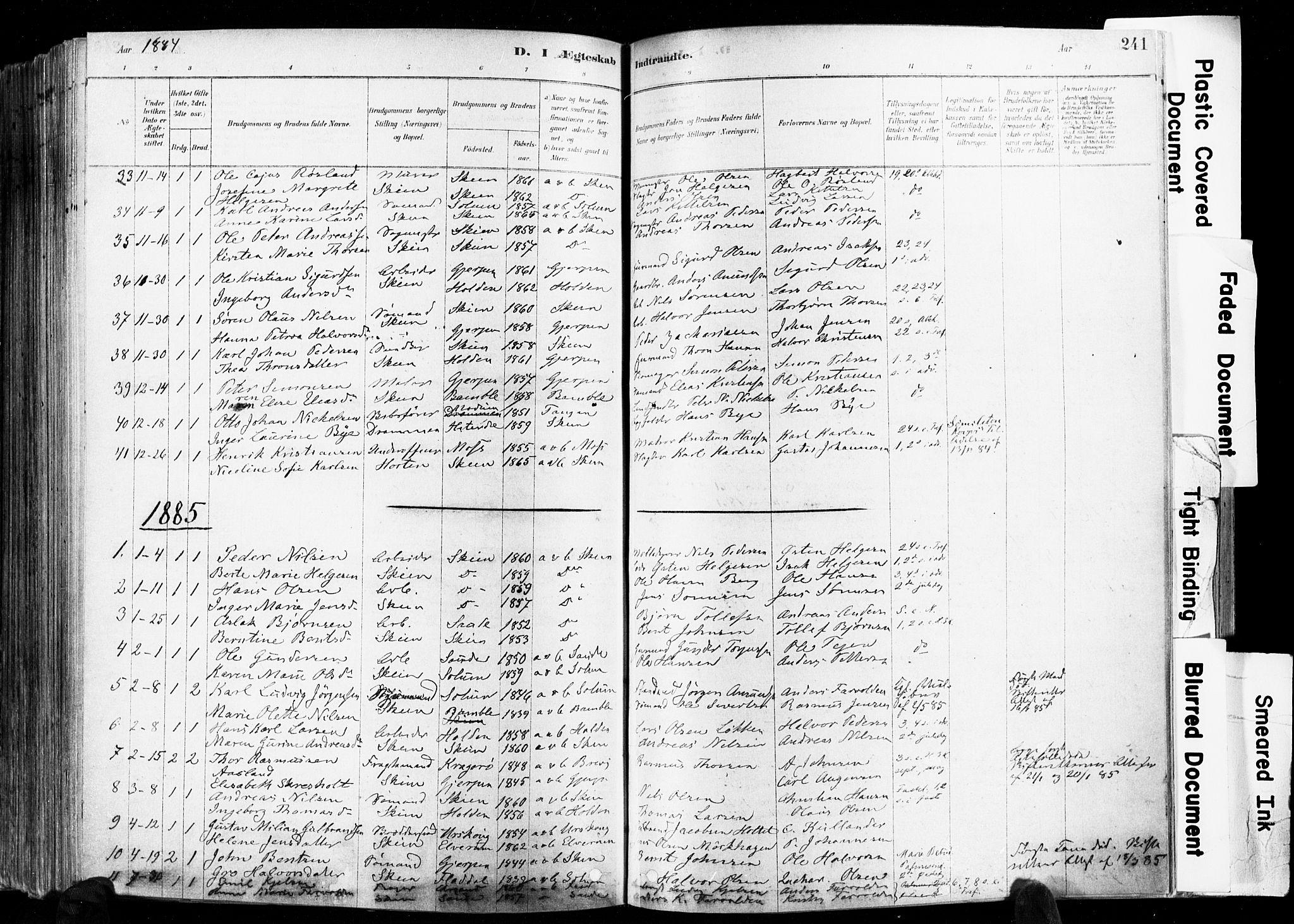 SAKO, Skien kirkebøker, F/Fa/L0009: Ministerialbok nr. 9, 1878-1890, s. 241