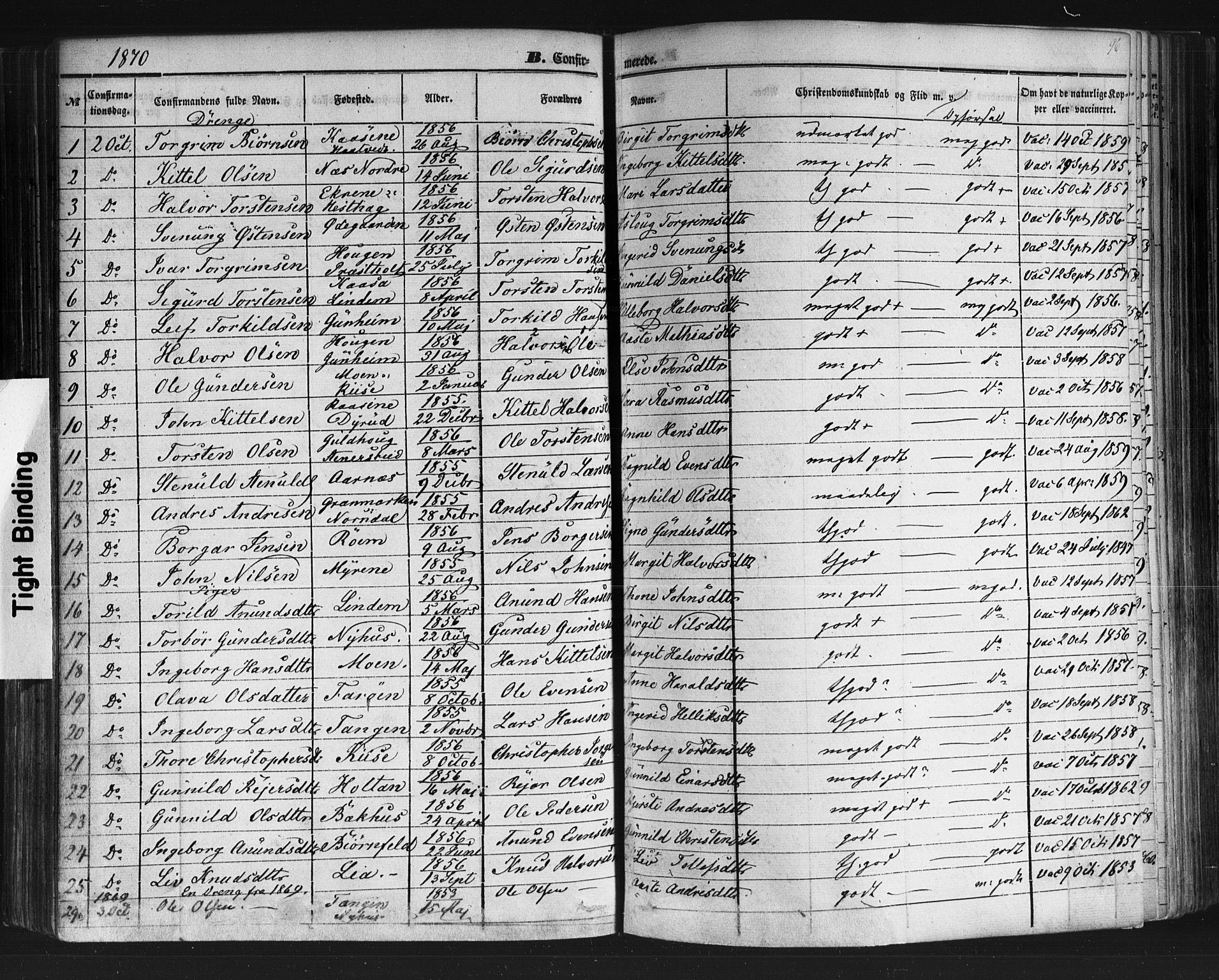 SAKO, Sauherad kirkebøker, F/Fb/L0001: Ministerialbok nr. II 1, 1851-1877, s. 96
