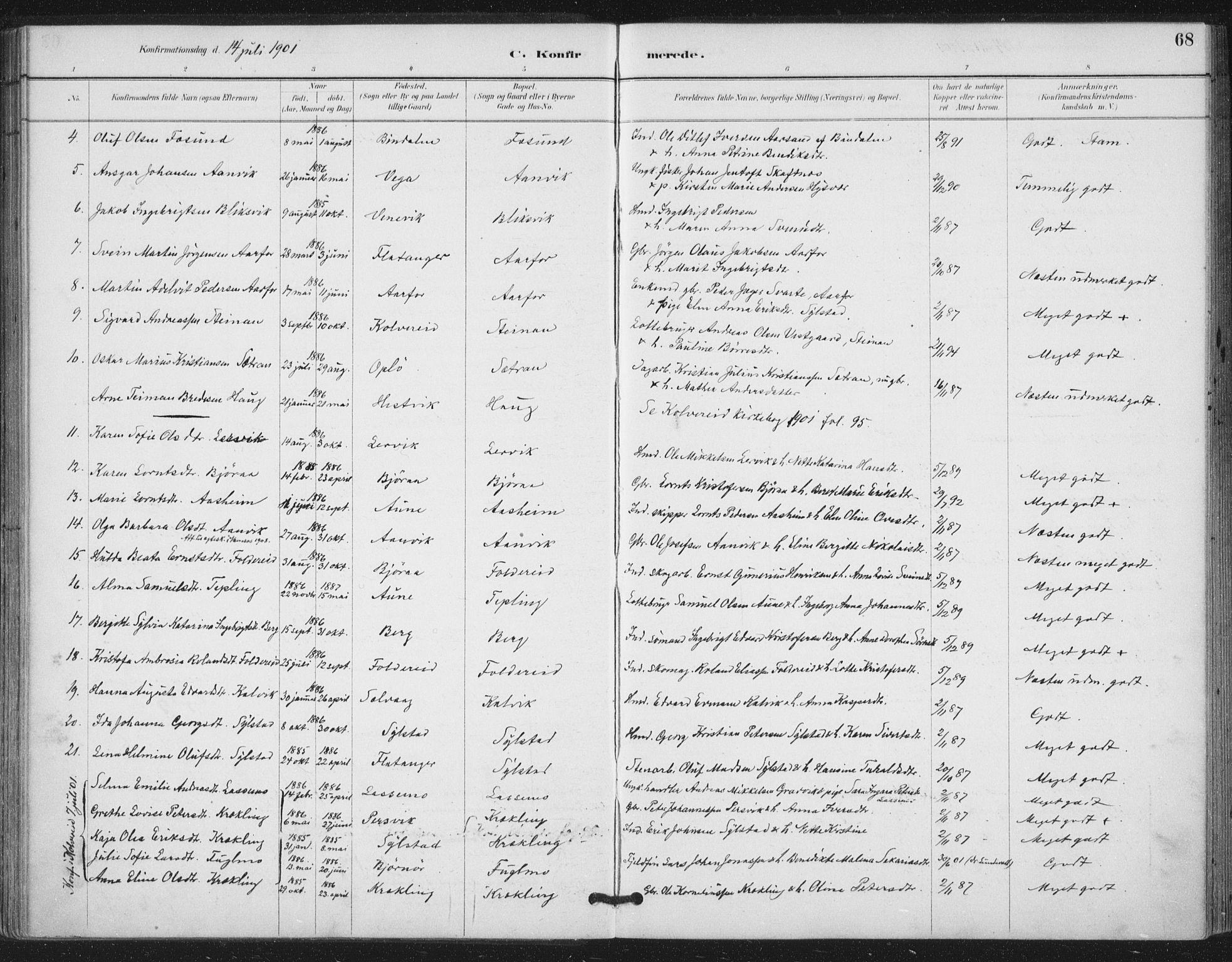 SAT, Ministerialprotokoller, klokkerbøker og fødselsregistre - Nord-Trøndelag, 783/L0660: Ministerialbok nr. 783A02, 1886-1918, s. 68