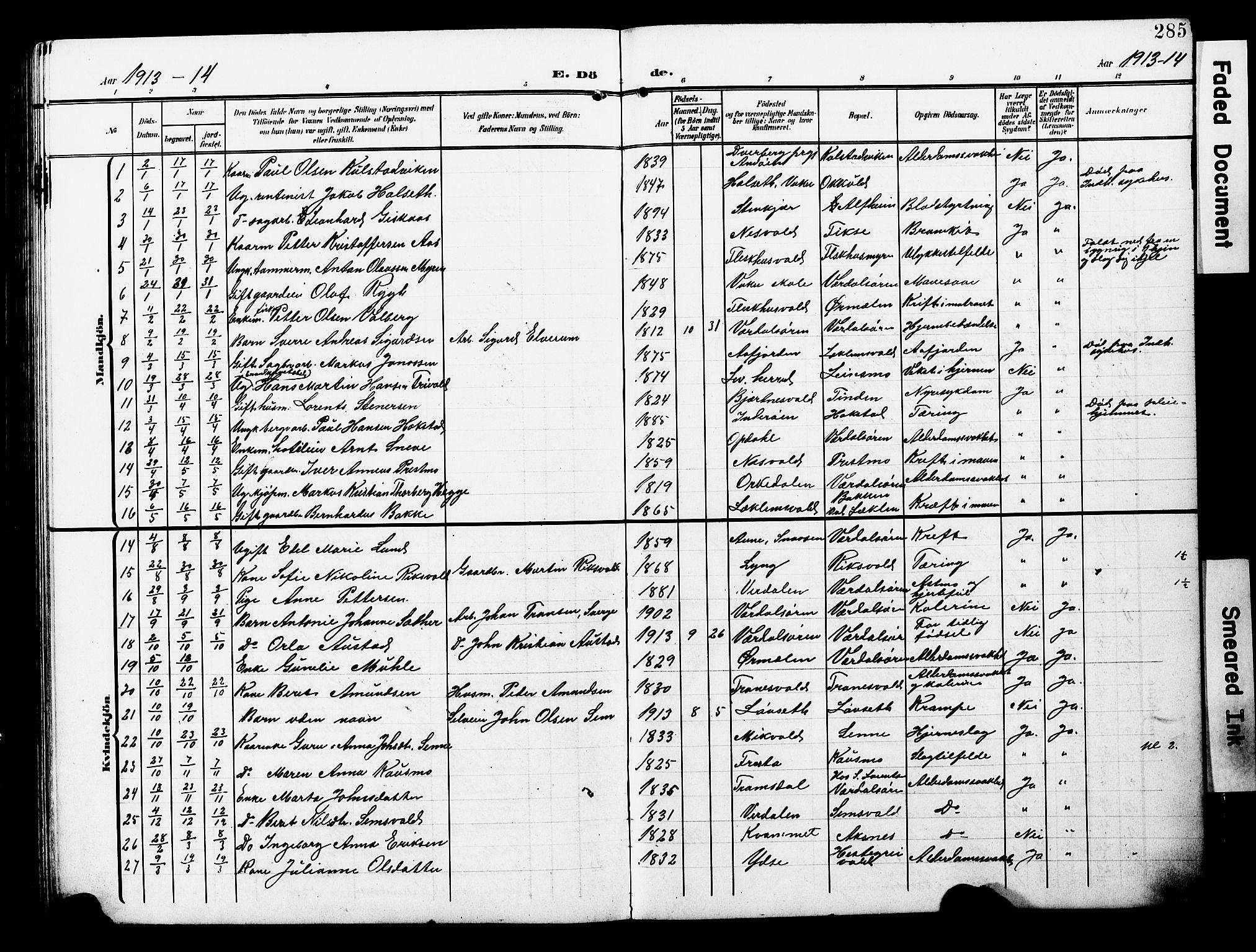 SAT, Ministerialprotokoller, klokkerbøker og fødselsregistre - Nord-Trøndelag, 723/L0258: Klokkerbok nr. 723C06, 1908-1927, s. 285