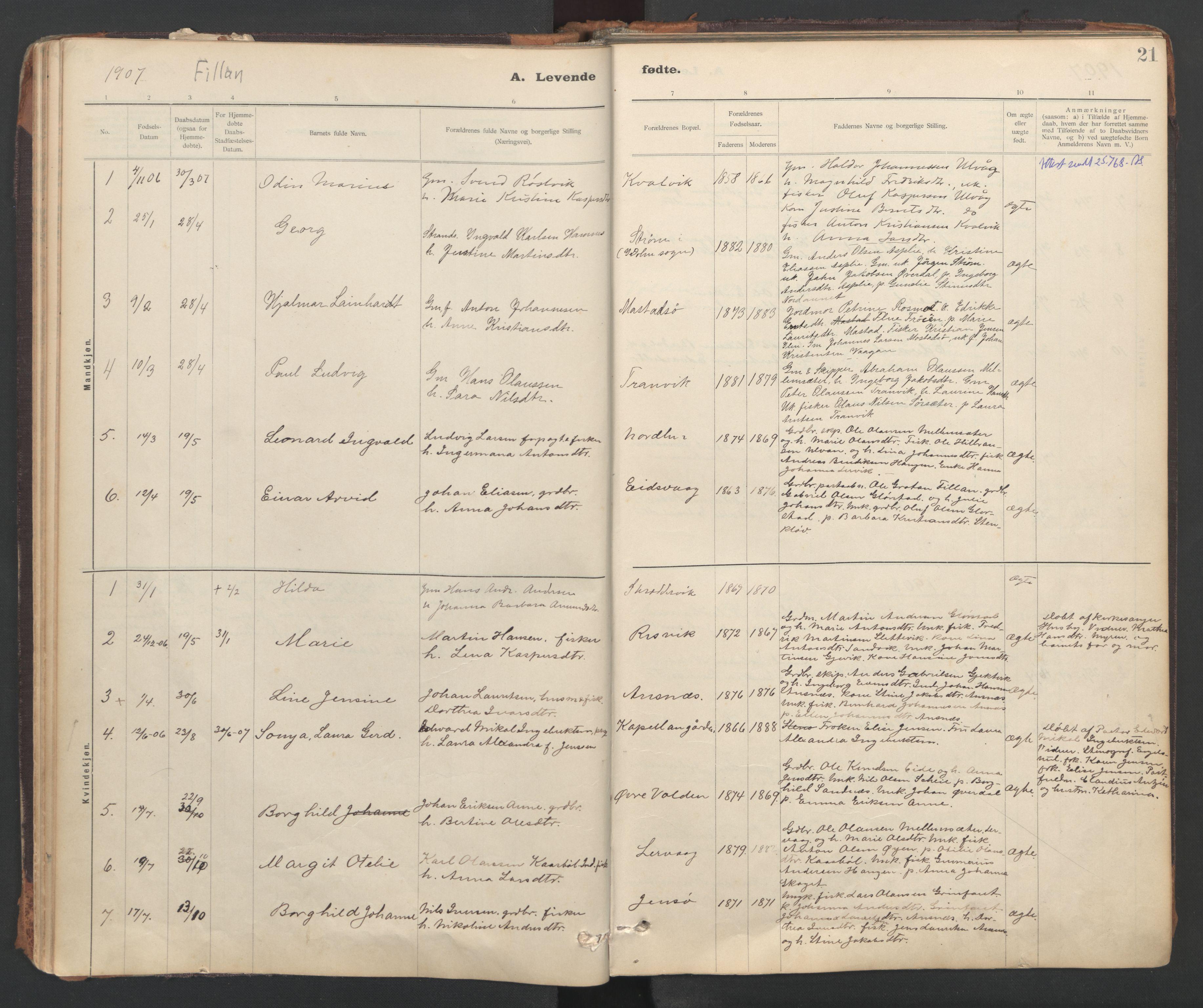 SAT, Ministerialprotokoller, klokkerbøker og fødselsregistre - Sør-Trøndelag, 637/L0559: Ministerialbok nr. 637A02, 1899-1923, s. 21