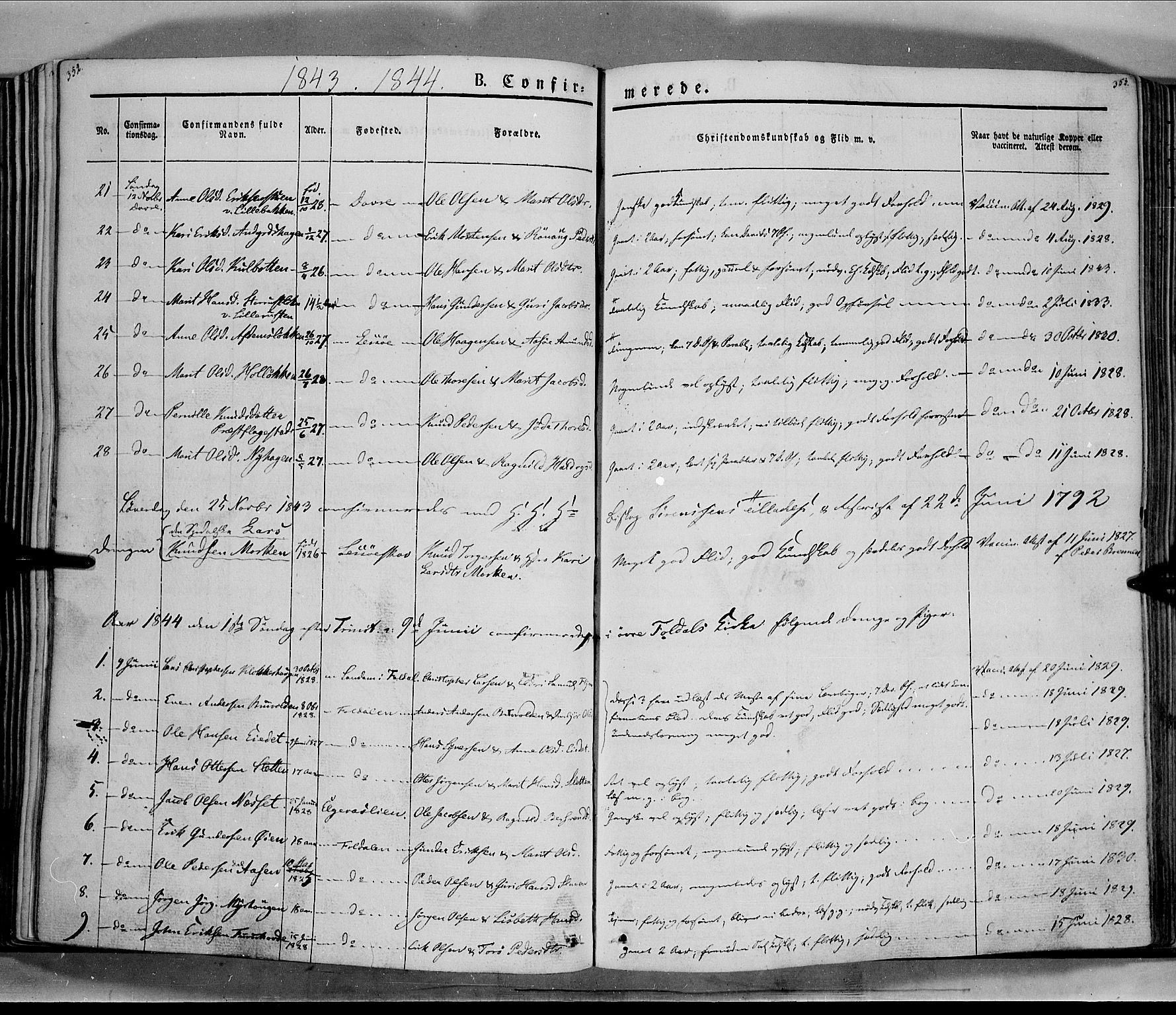 SAH, Lesja prestekontor, Ministerialbok nr. 6A, 1843-1854, s. 352-353