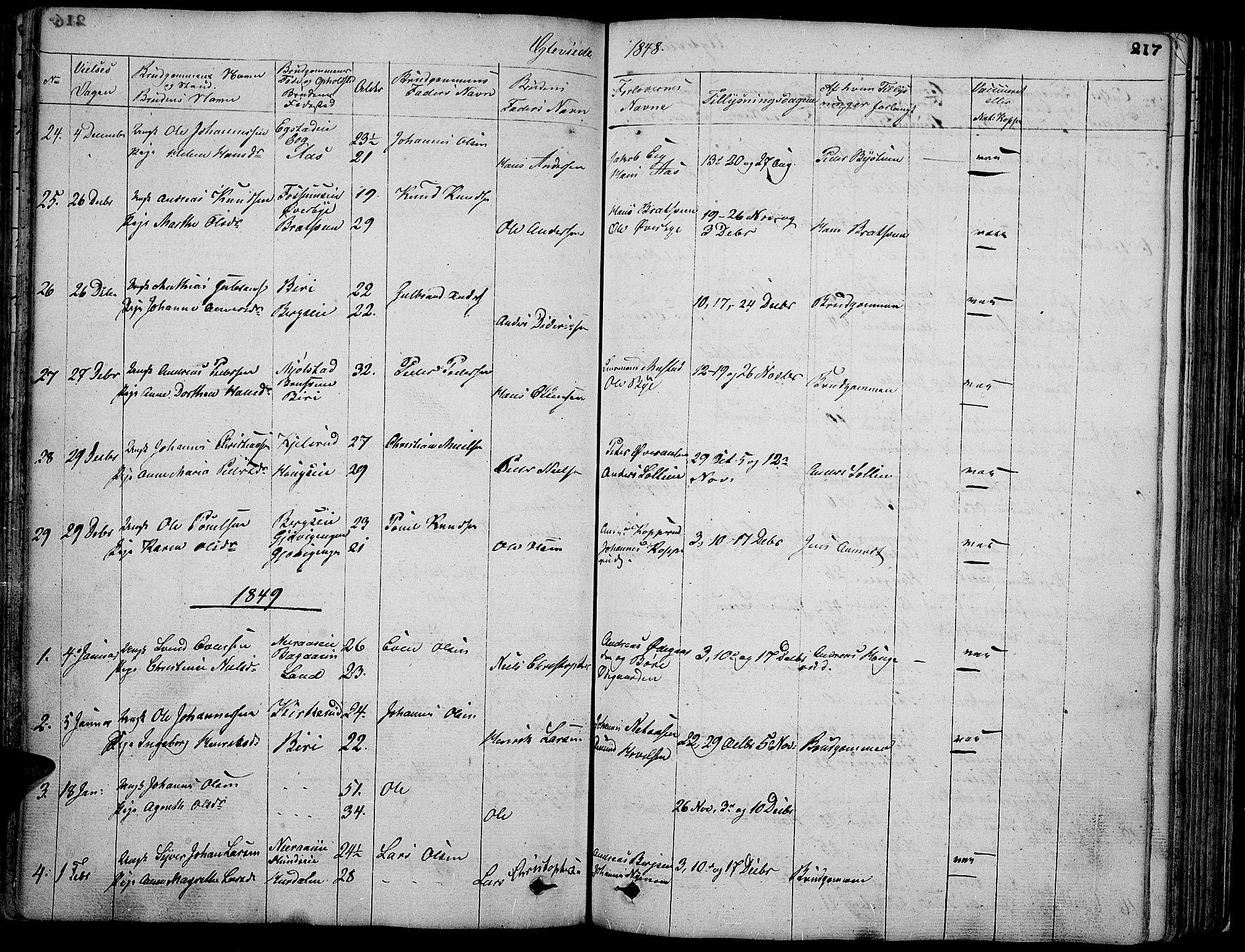 SAH, Vardal prestekontor, H/Ha/Hab/L0004: Klokkerbok nr. 4, 1831-1853, s. 217