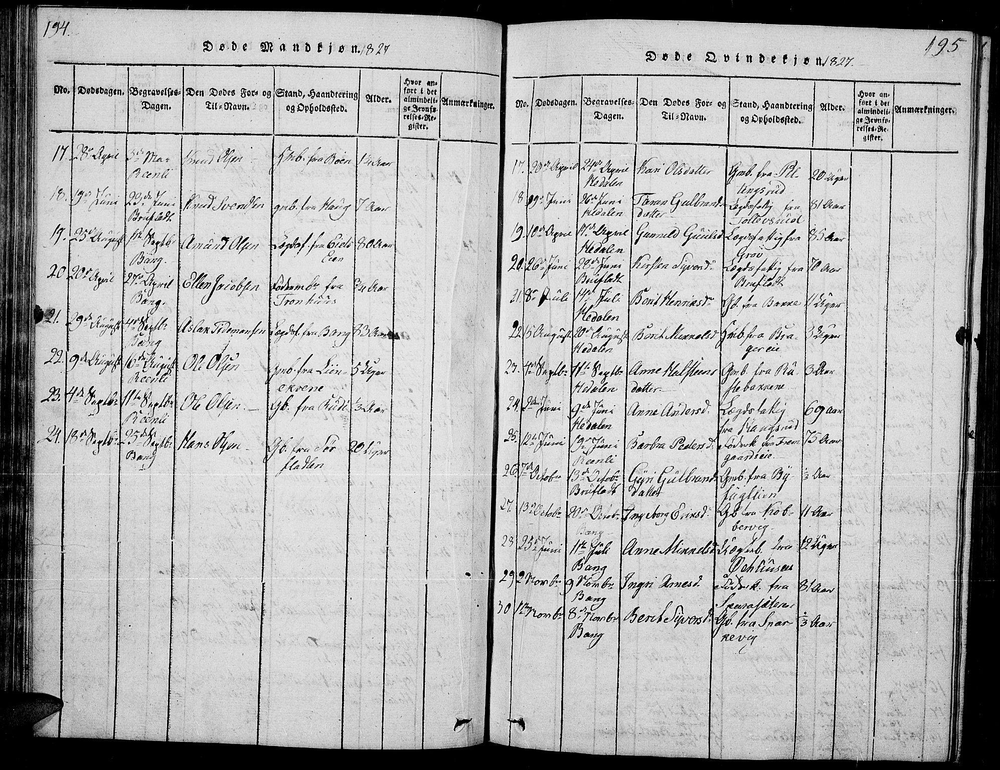 SAH, Sør-Aurdal prestekontor, Klokkerbok nr. 2, 1826-1840, s. 194-195