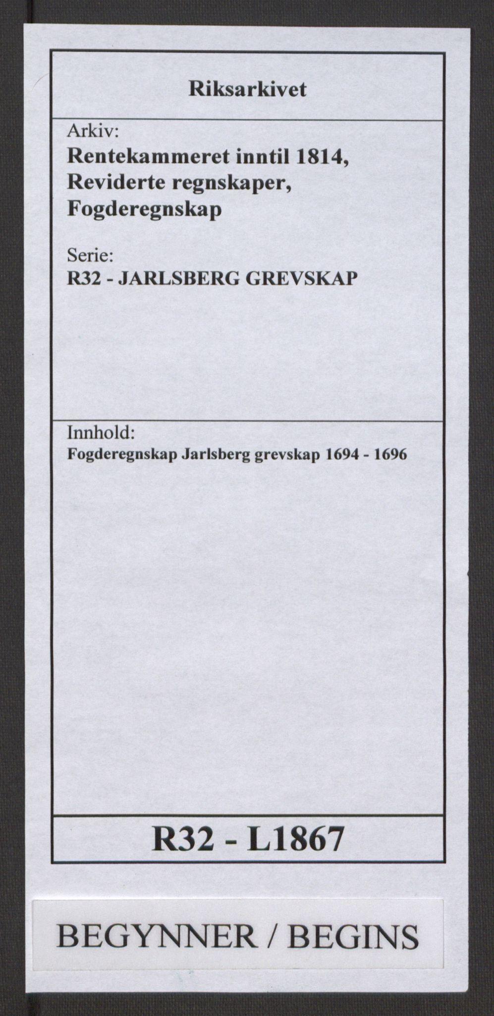 RA, Rentekammeret inntil 1814, Reviderte regnskaper, Fogderegnskap, R32/L1867: Fogderegnskap Jarlsberg grevskap, 1694-1696, s. 1