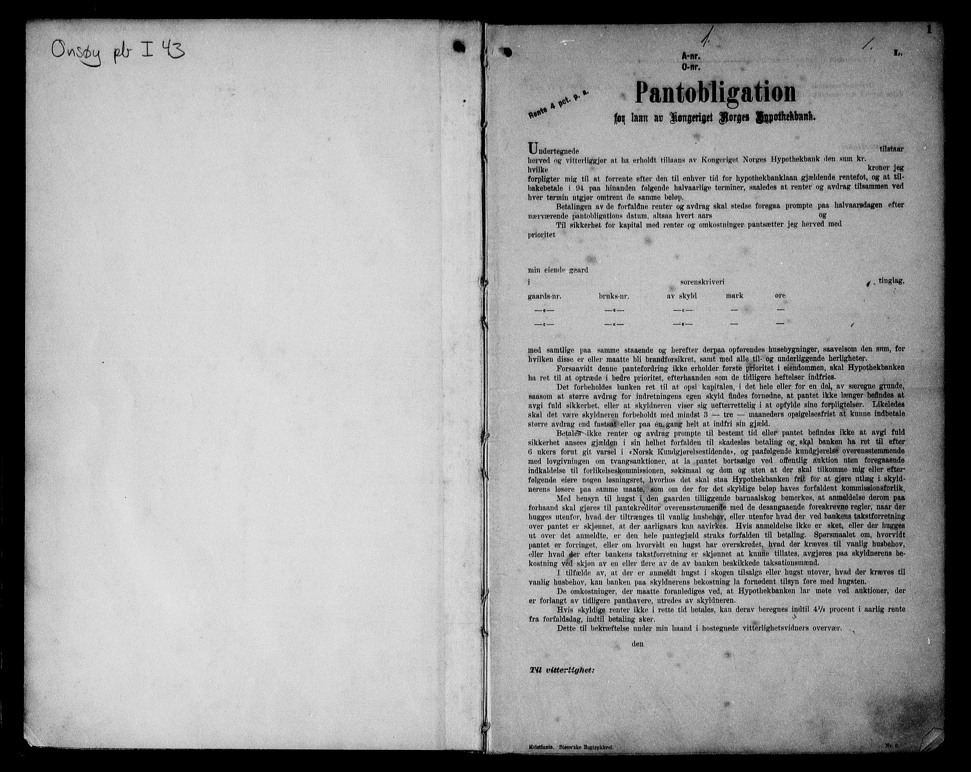 SAO, Onsøy sorenskriveri, G/Ga/Gaa/L0043: Pantebok nr. I 43, 1913-1914, s. 1
