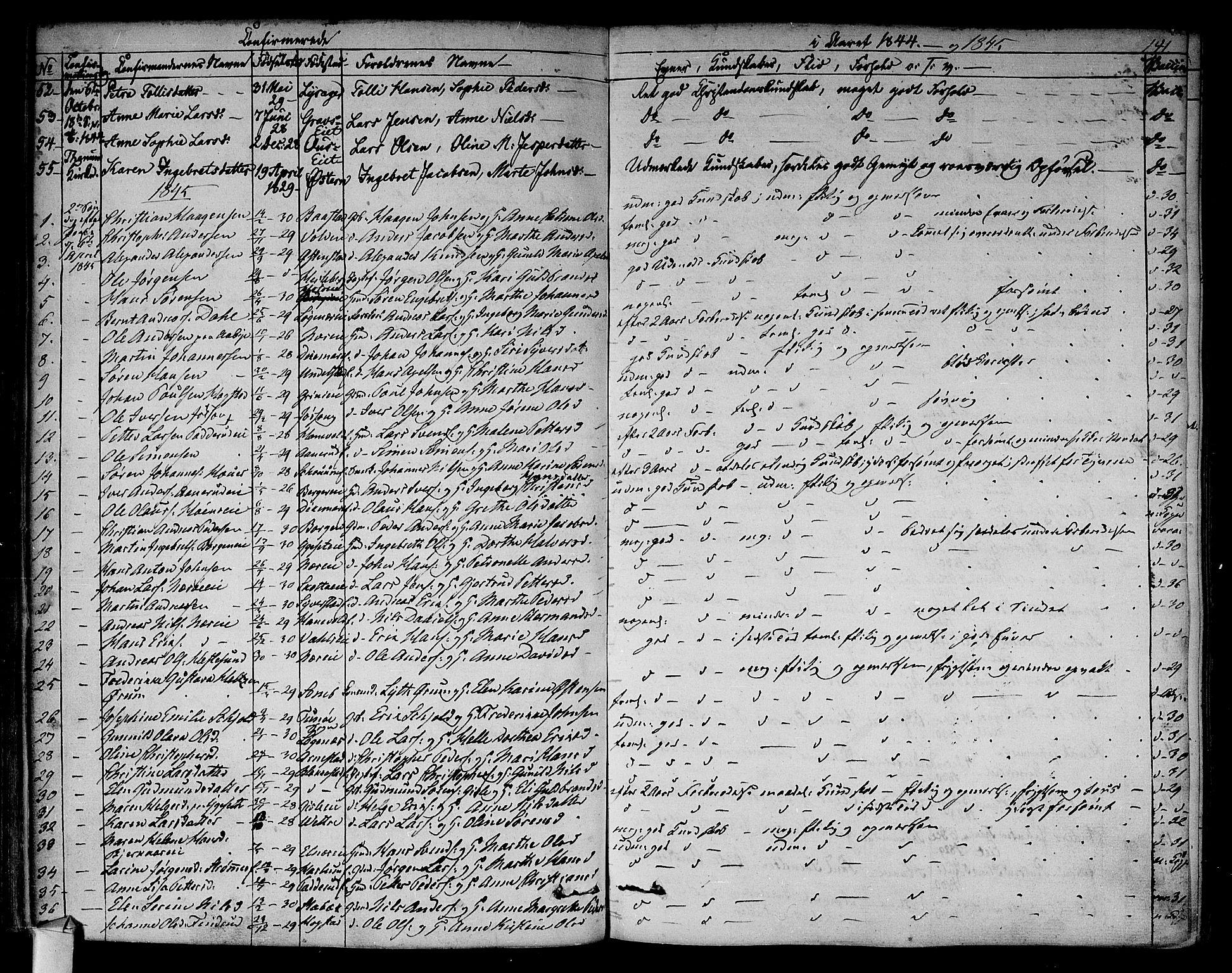 SAO, Asker prestekontor Kirkebøker, F/Fa/L0009: Ministerialbok nr. I 9, 1825-1878, s. 141