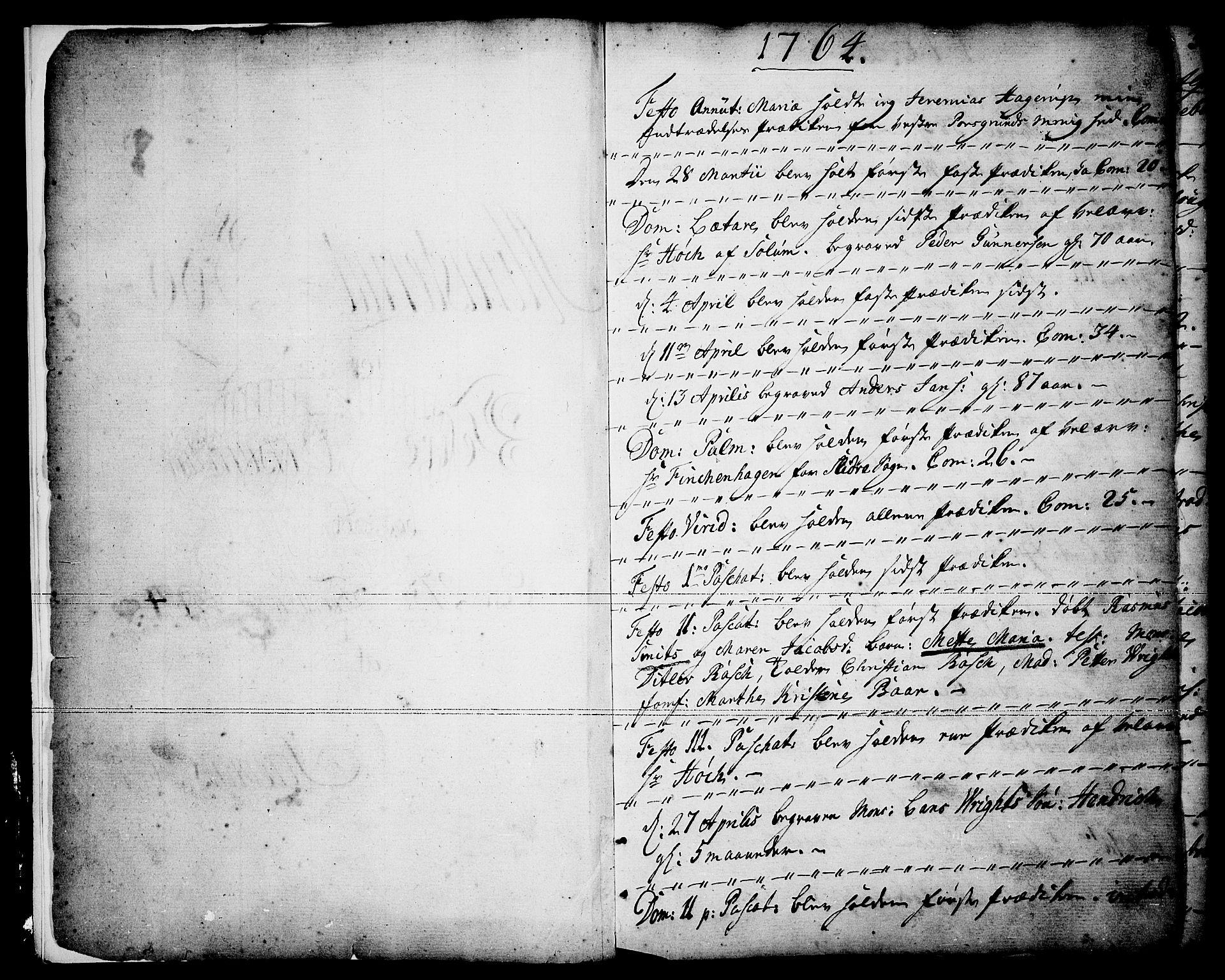 SAKO, Porsgrunn kirkebøker , F/Fa/L0001: Ministerialbok nr. 1, 1764-1814, s. 1