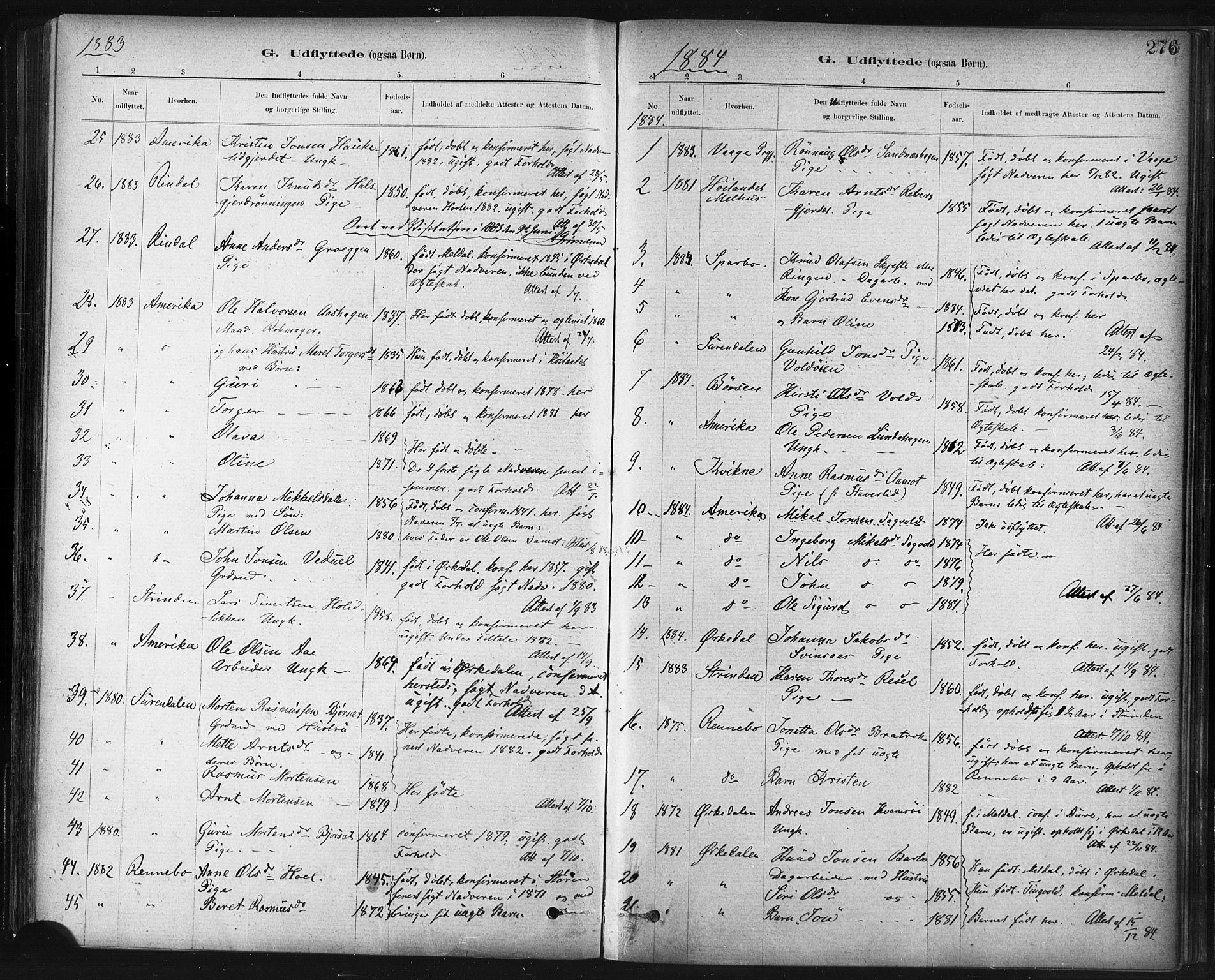 SAT, Ministerialprotokoller, klokkerbøker og fødselsregistre - Sør-Trøndelag, 672/L0857: Ministerialbok nr. 672A09, 1882-1893, s. 276