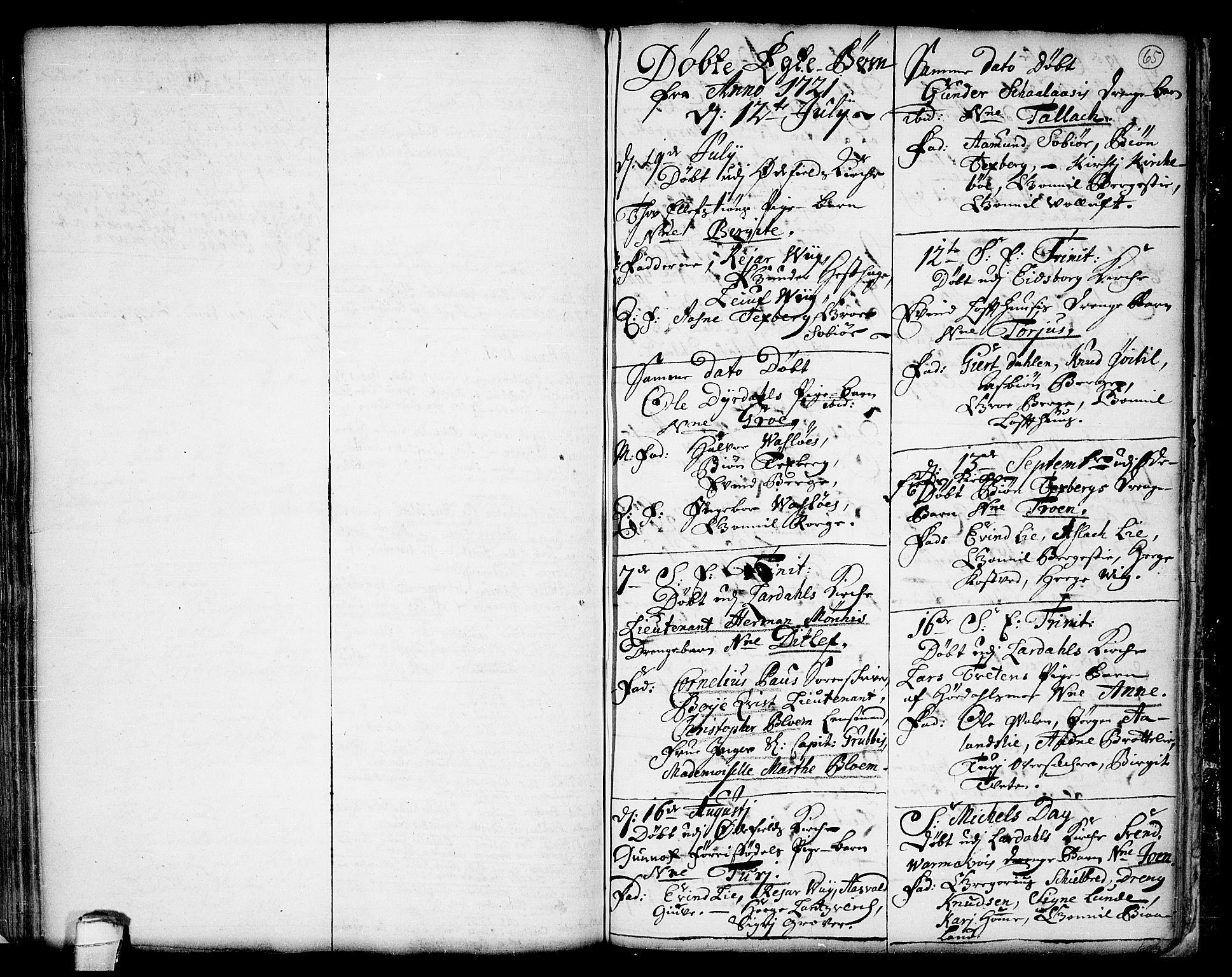 SAKO, Lårdal kirkebøker, F/Fa/L0001: Ministerialbok nr. I 1, 1721-1734, s. 65