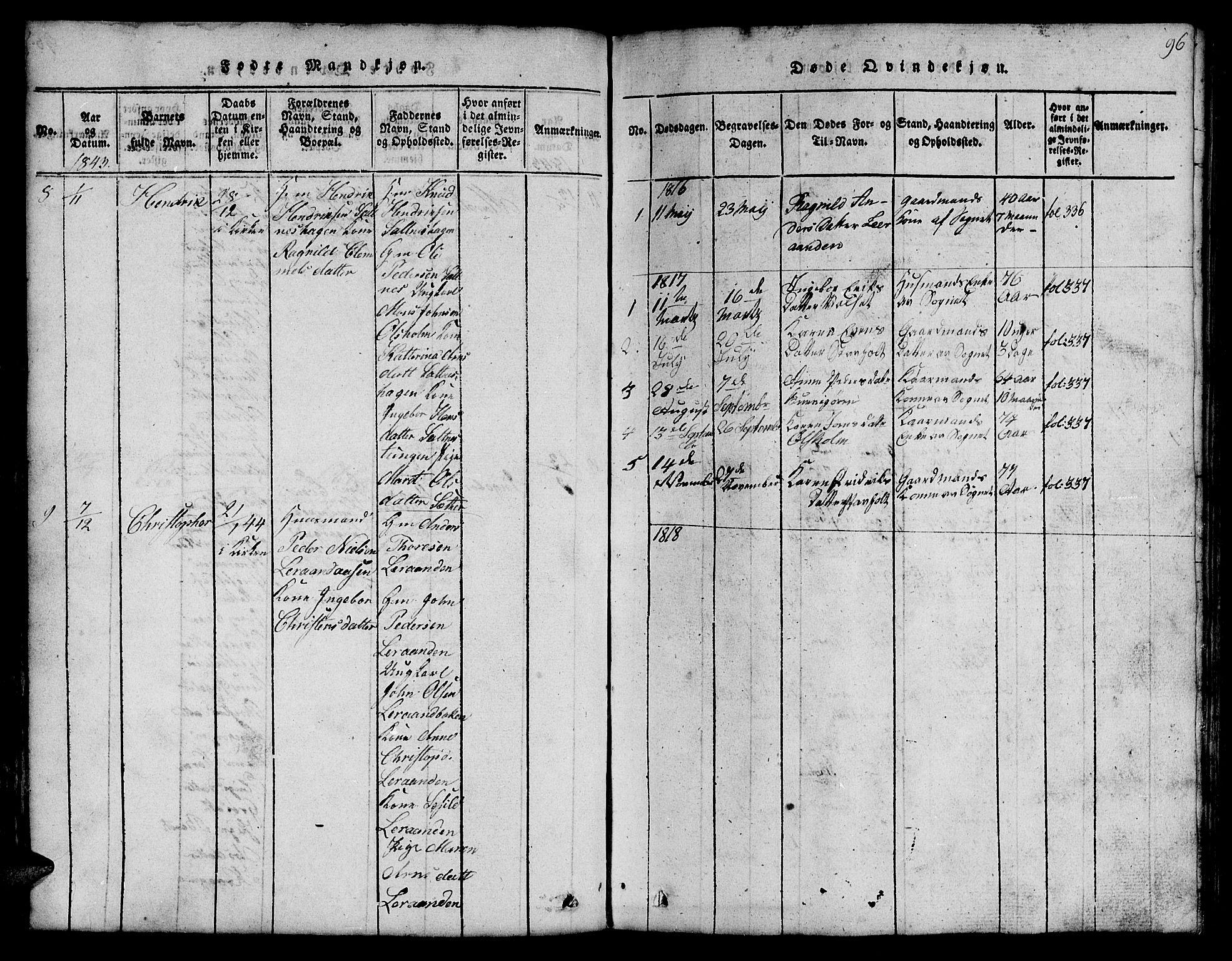 SAT, Ministerialprotokoller, klokkerbøker og fødselsregistre - Sør-Trøndelag, 666/L0788: Klokkerbok nr. 666C01, 1816-1847, s. 96