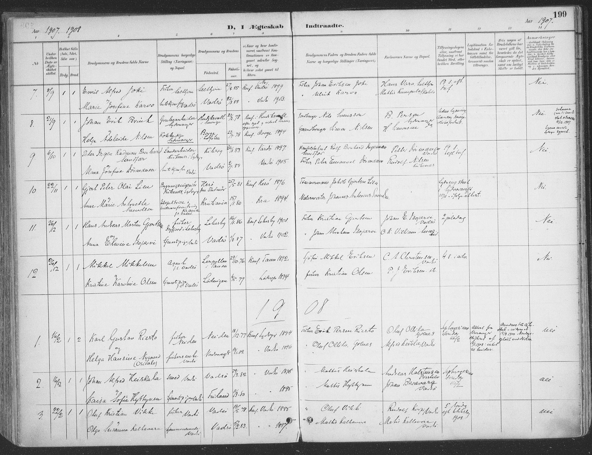 SATØ, Vadsø sokneprestkontor, H/Ha/L0007kirke: Ministerialbok nr. 7, 1896-1916, s. 199