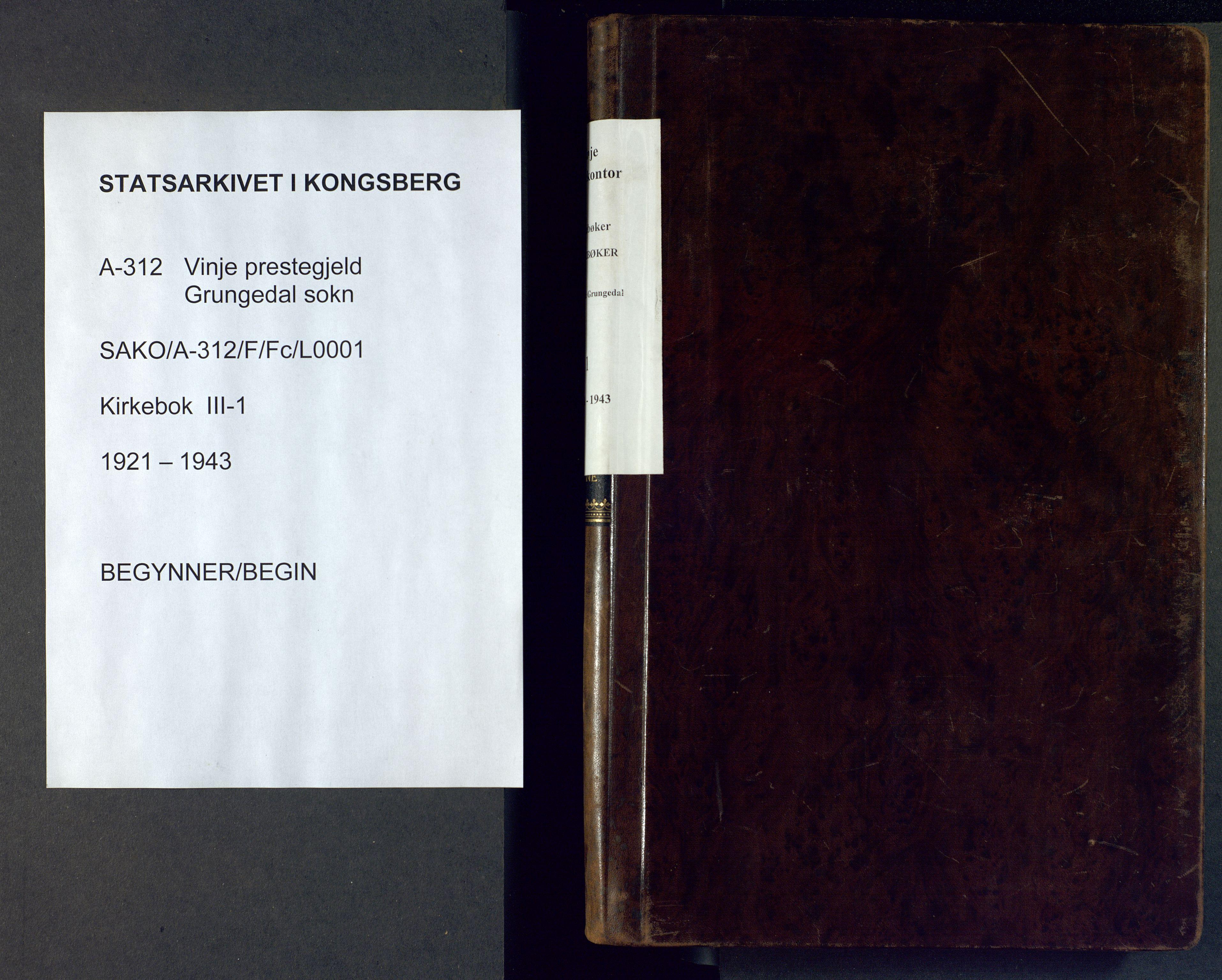SAKO, Vinje kirkebøker, F/Fc/L0001: Ministerialbok nr. III 1, 1921-1943
